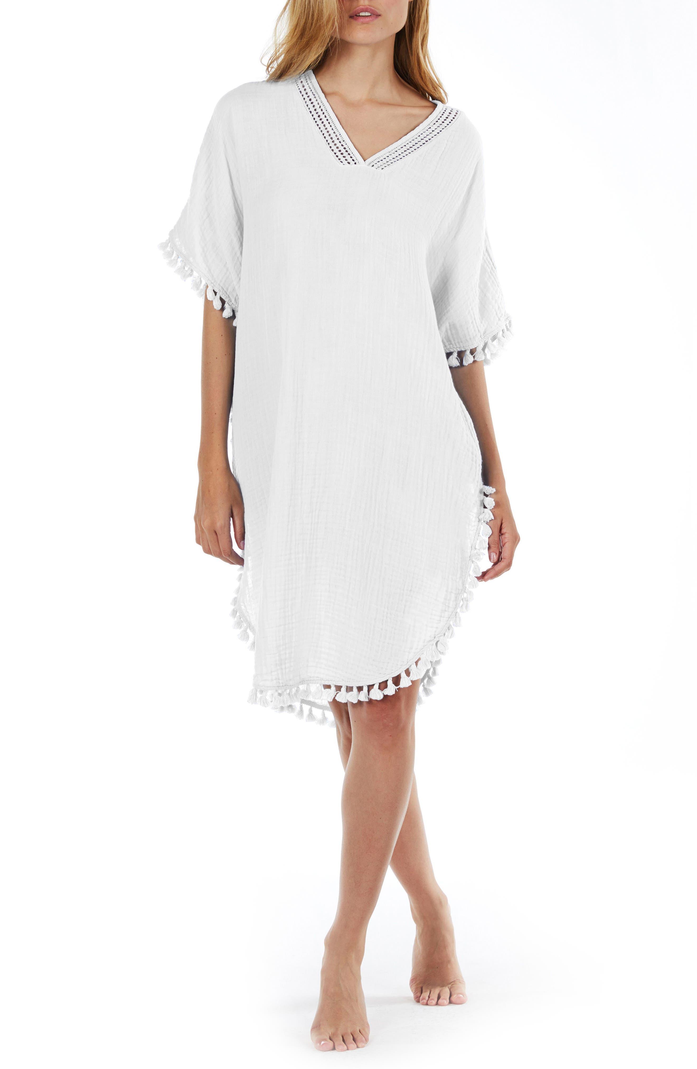 Tassel Trim Cover-Up Tunic,                         Main,                         color, White