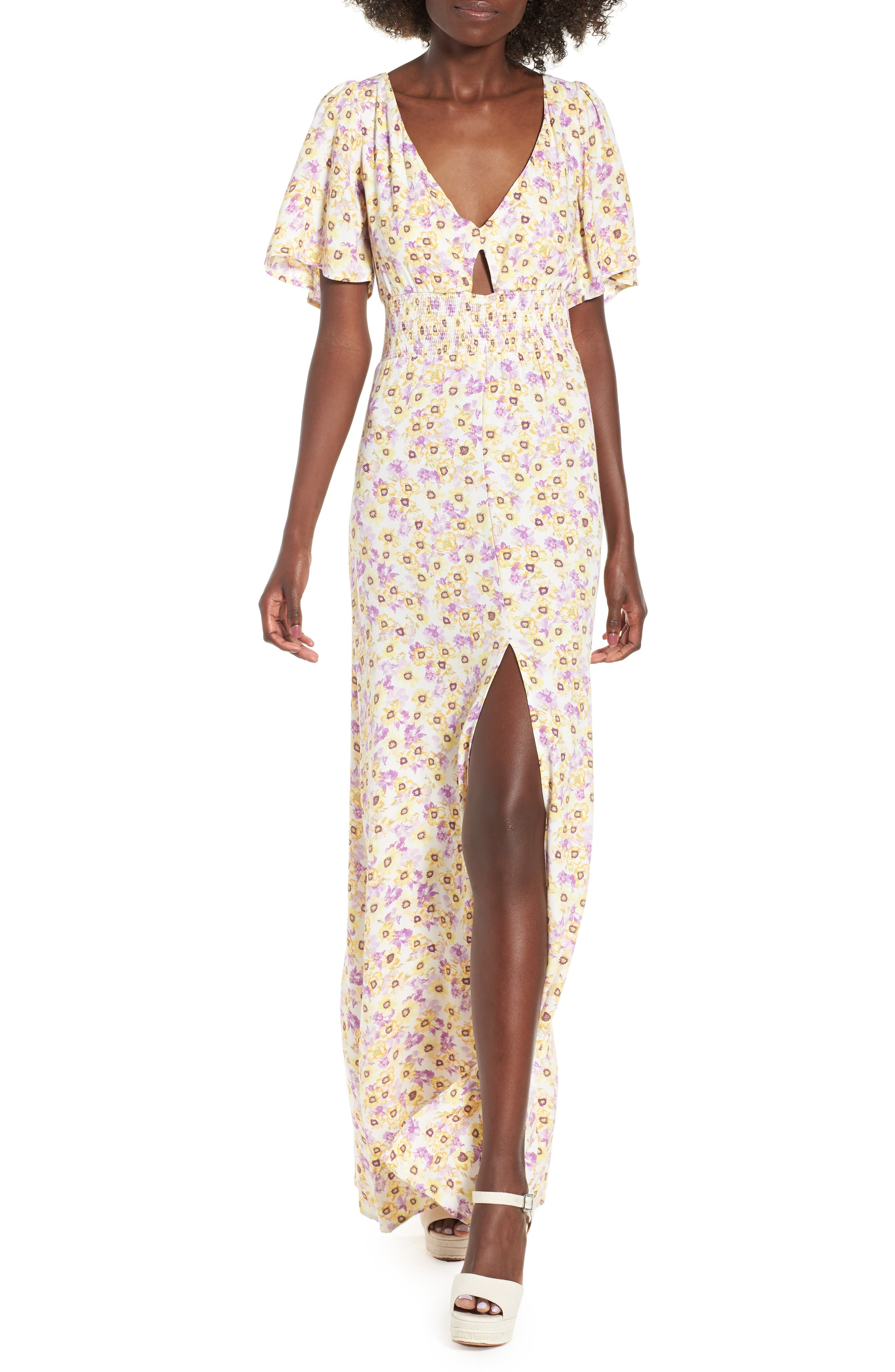 Tuscany Maxi Dress,                         Main,                         color, Yellow Garden