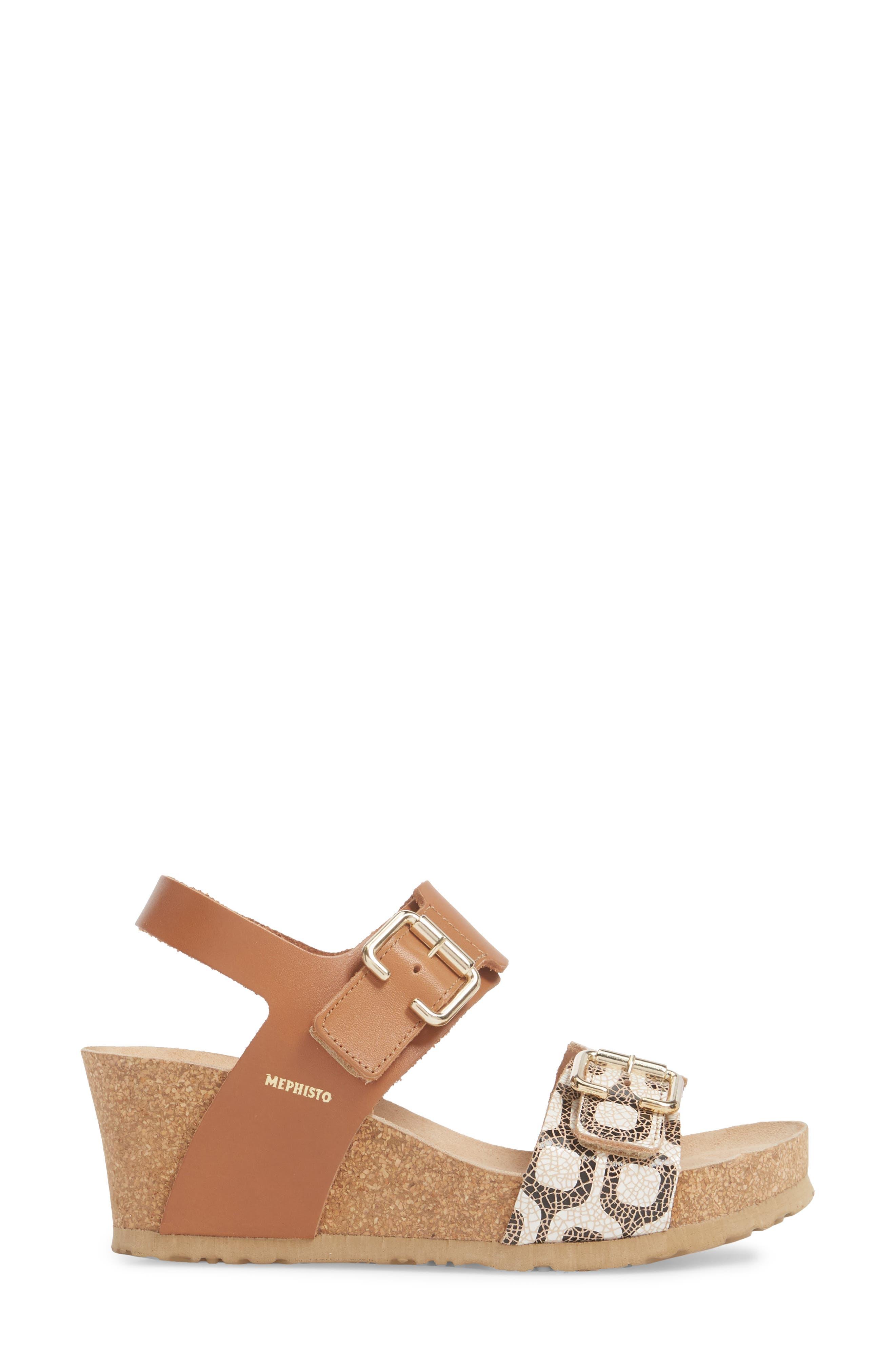 Lissandra Platform Wedge Sandal,                             Alternate thumbnail 3, color,                             Camel
