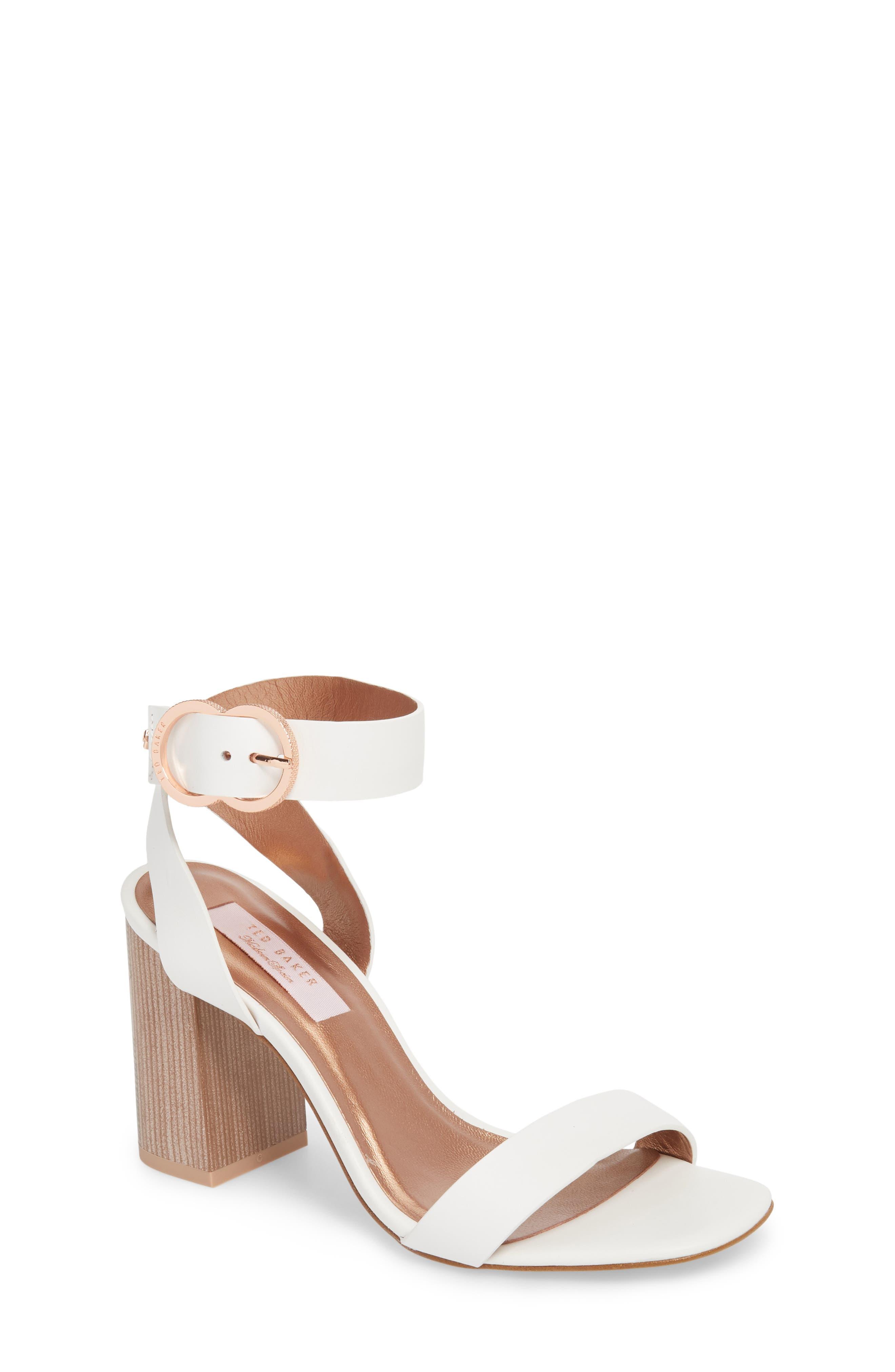 Vallama Block Heel Sandal,                             Main thumbnail 1, color,                             White Leather