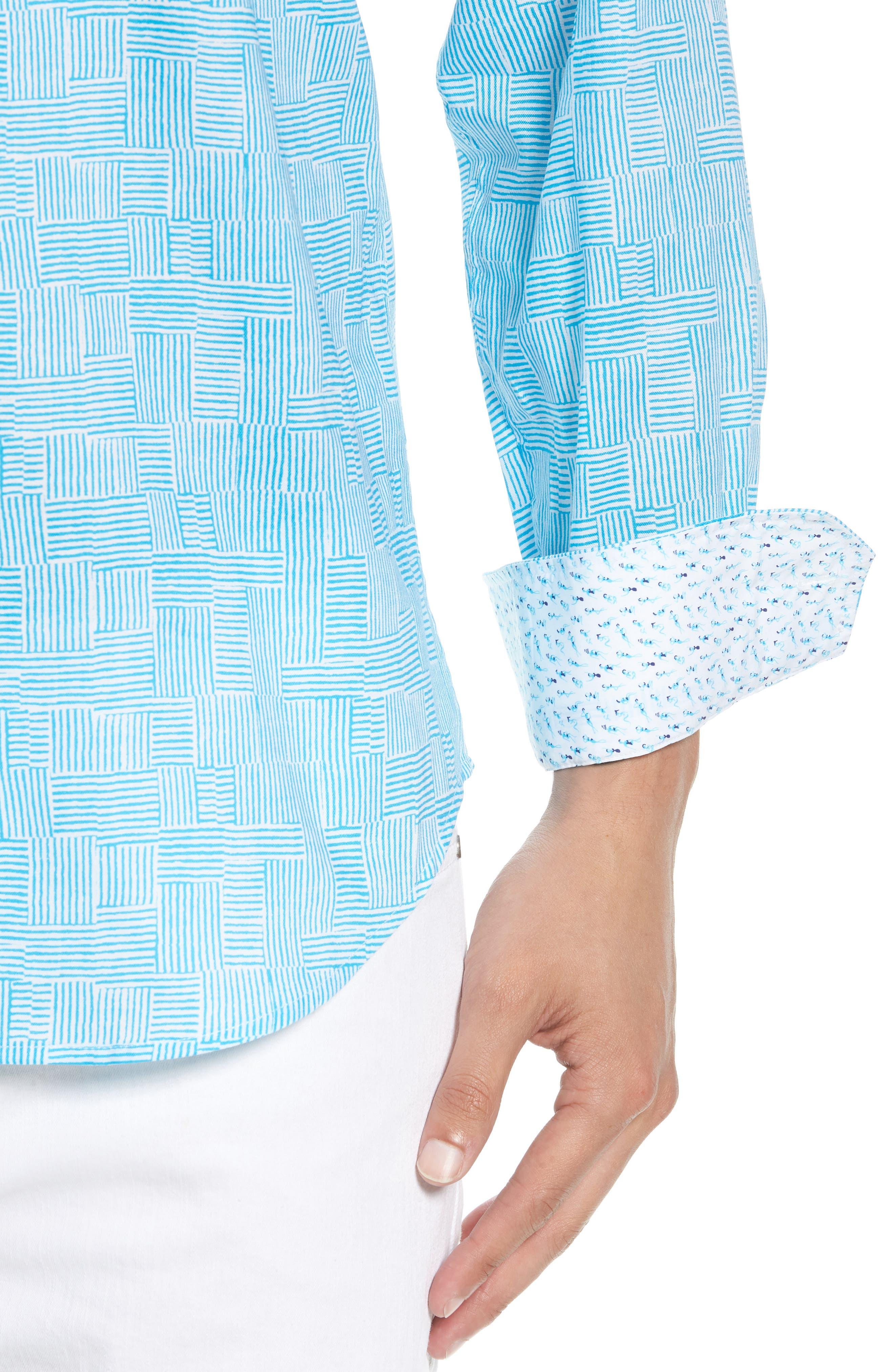 Shaped Fit Basket Weave Print Sport Shirt,                             Alternate thumbnail 2, color,                             Aqua