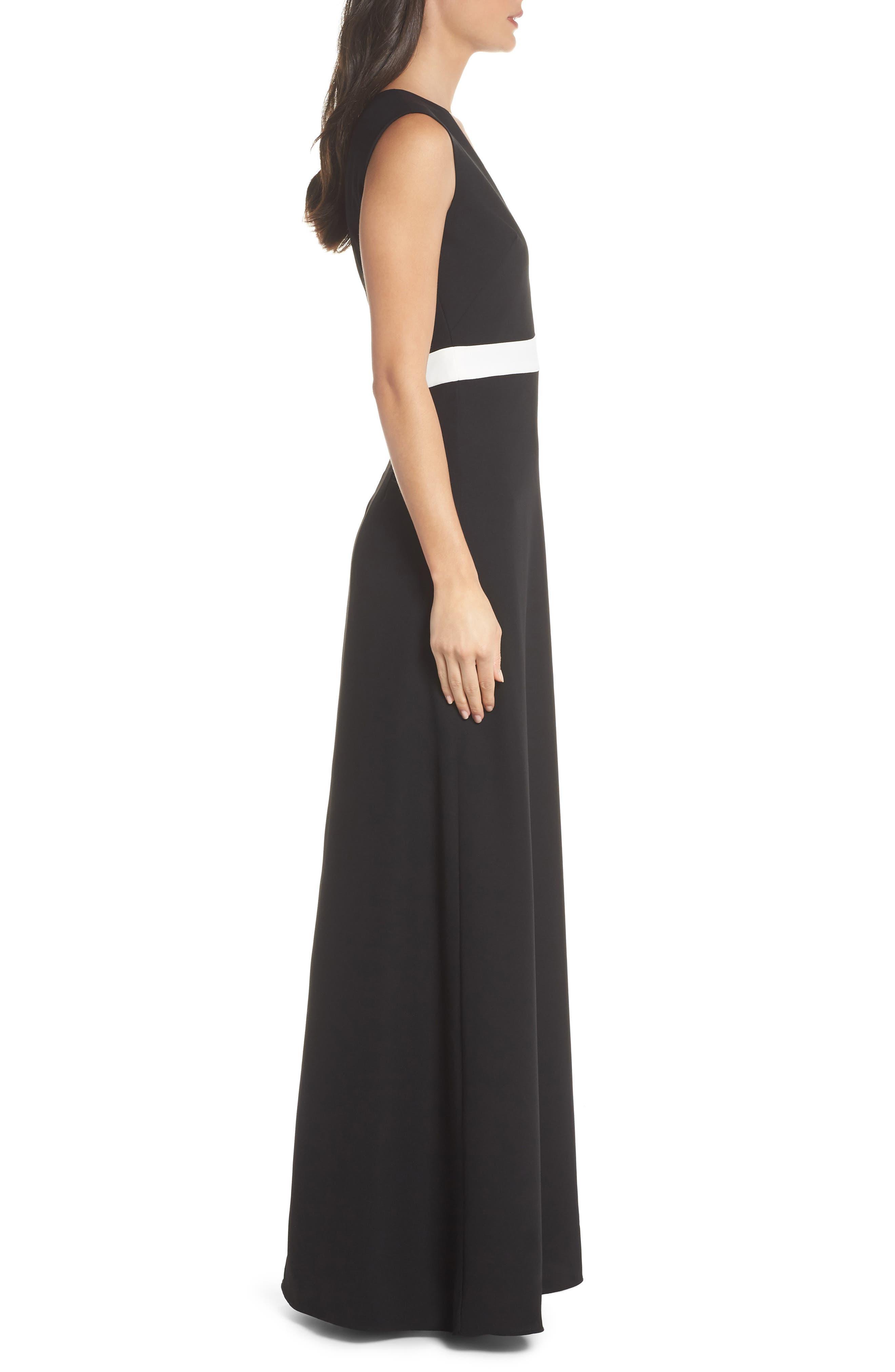 ML Monique Lhullier Sleeveless Crepe Gown,                             Alternate thumbnail 3, color,                             Black/ White