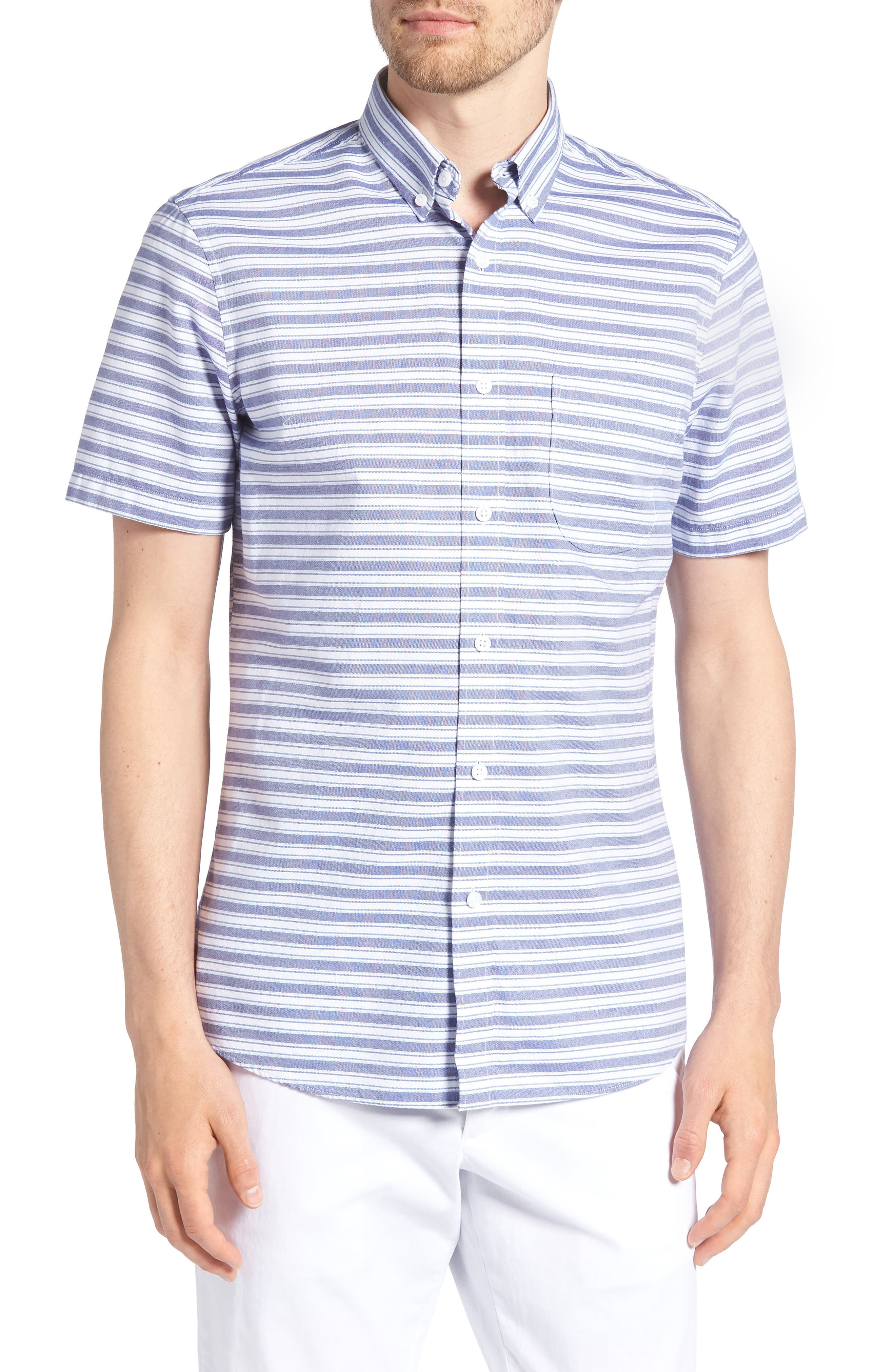 Trim Fit Stripe Round Pocket Sport Shirt,                         Main,                         color, Tonal Blue Stripe