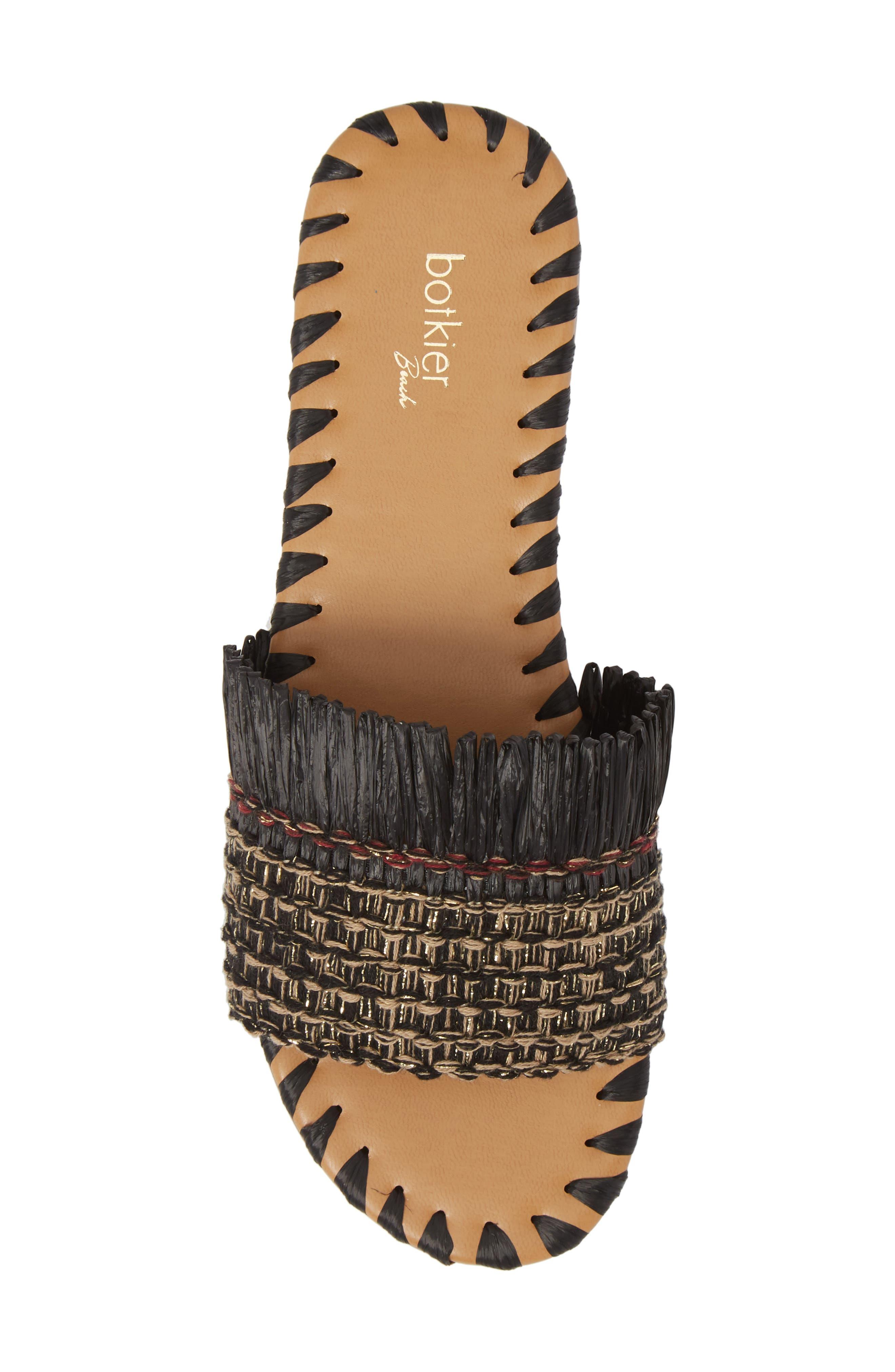 Bailee Slide Sandal,                             Alternate thumbnail 5, color,                             Black Fabric