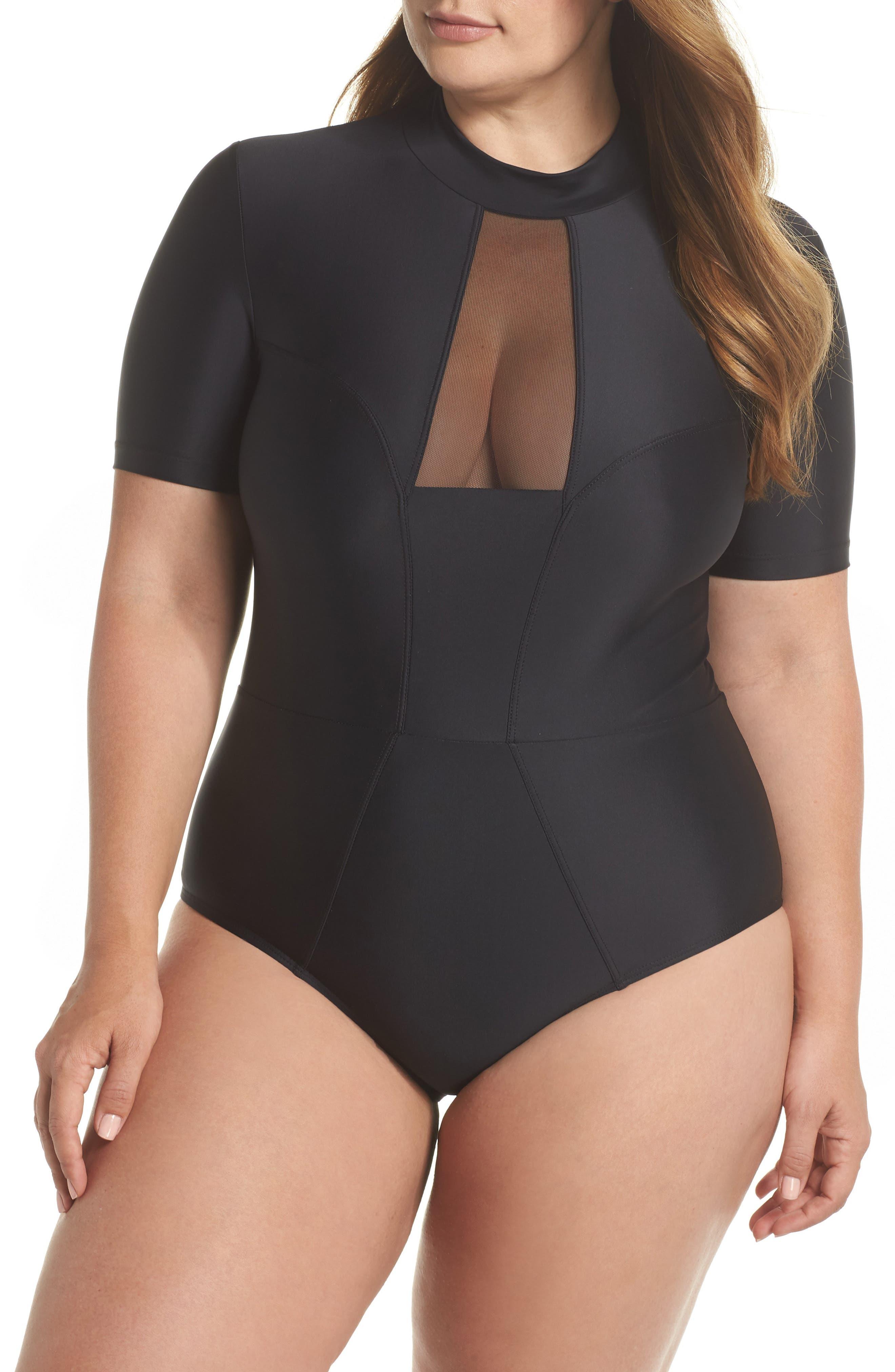 Tidal Back Zip One-Piece Swimsuit,                             Main thumbnail 1, color,                             Black