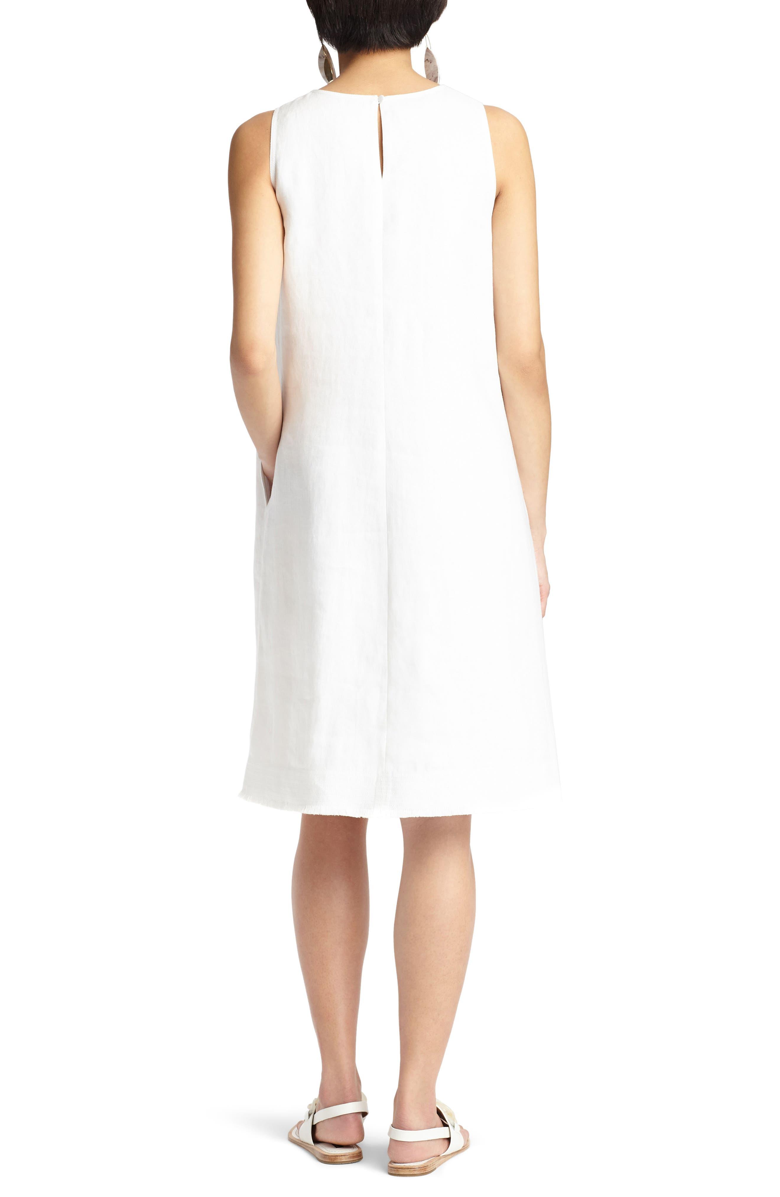 Hana Linen Dress,                             Alternate thumbnail 2, color,                             White