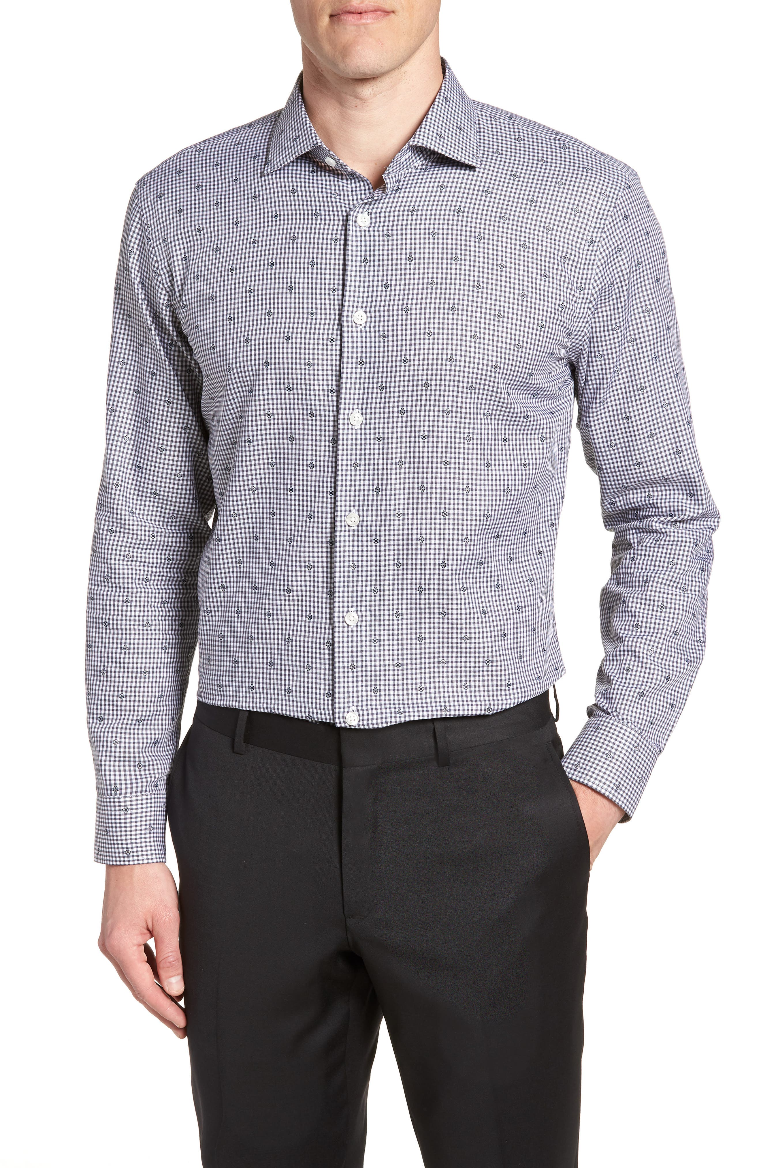 Trim Fit Check Dress Shirt,                             Main thumbnail 1, color,                             Grey Onyx