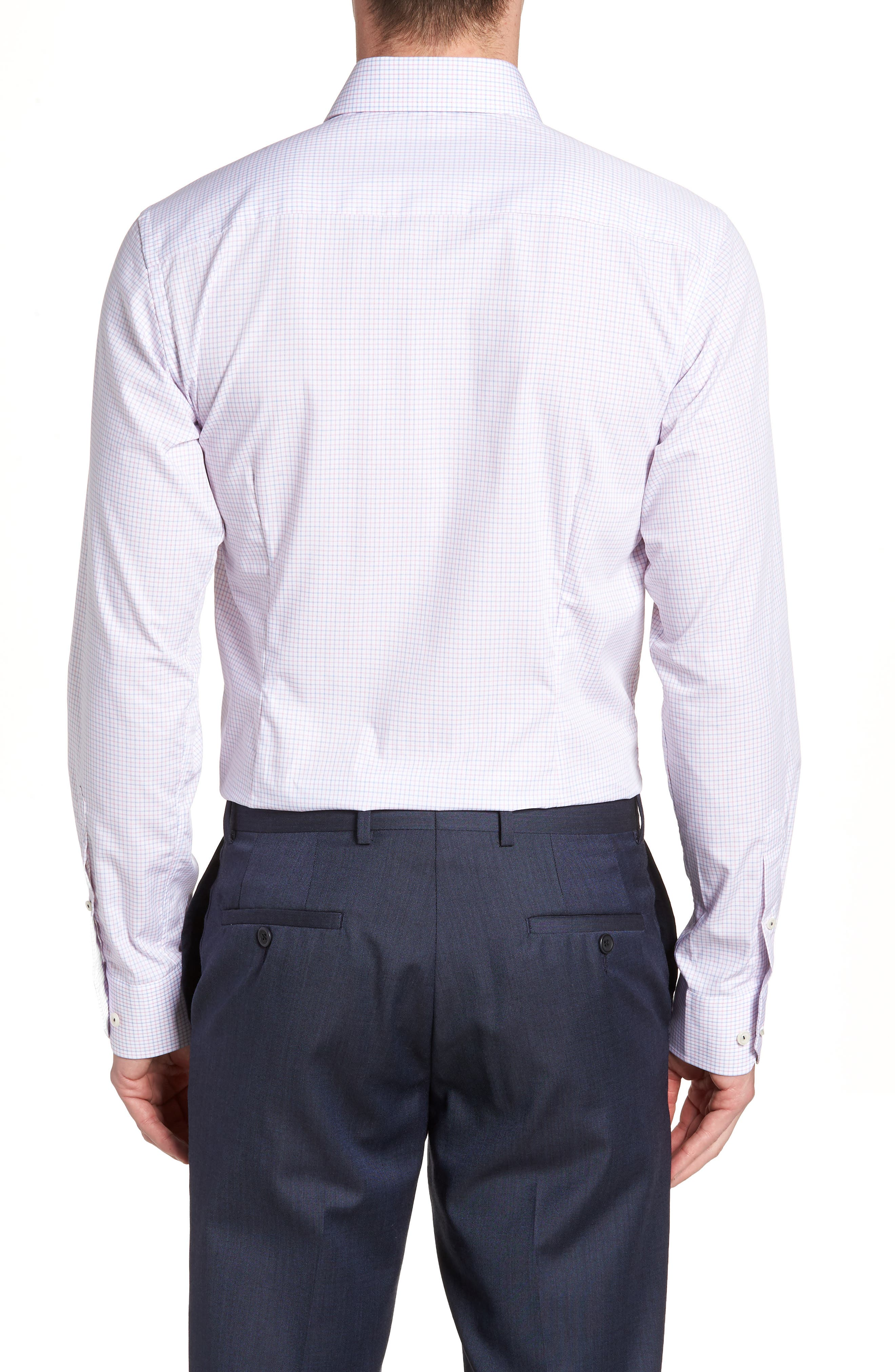 Contemporary Fit Check Dress Shirt,                             Alternate thumbnail 3, color,                             Pink