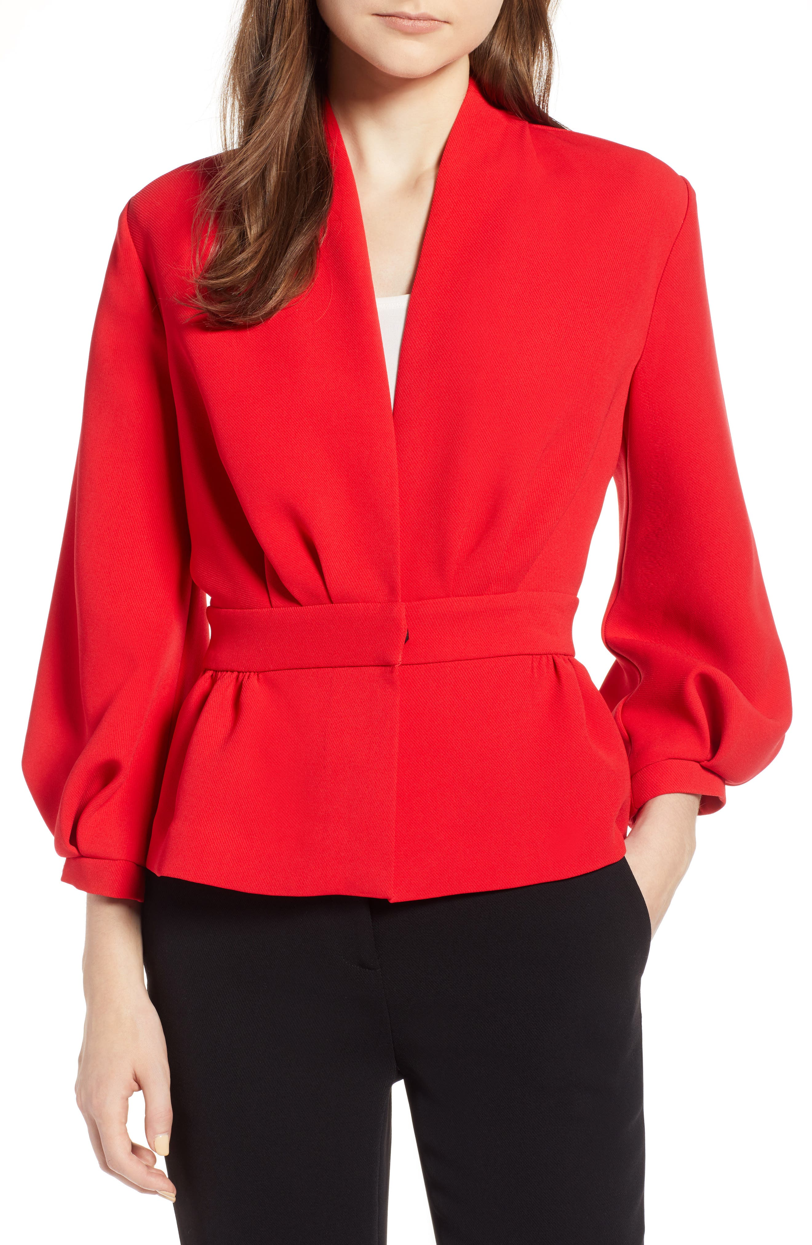 Blouson Sleeve Jacket,                             Main thumbnail 1, color,                             Red Chinoise