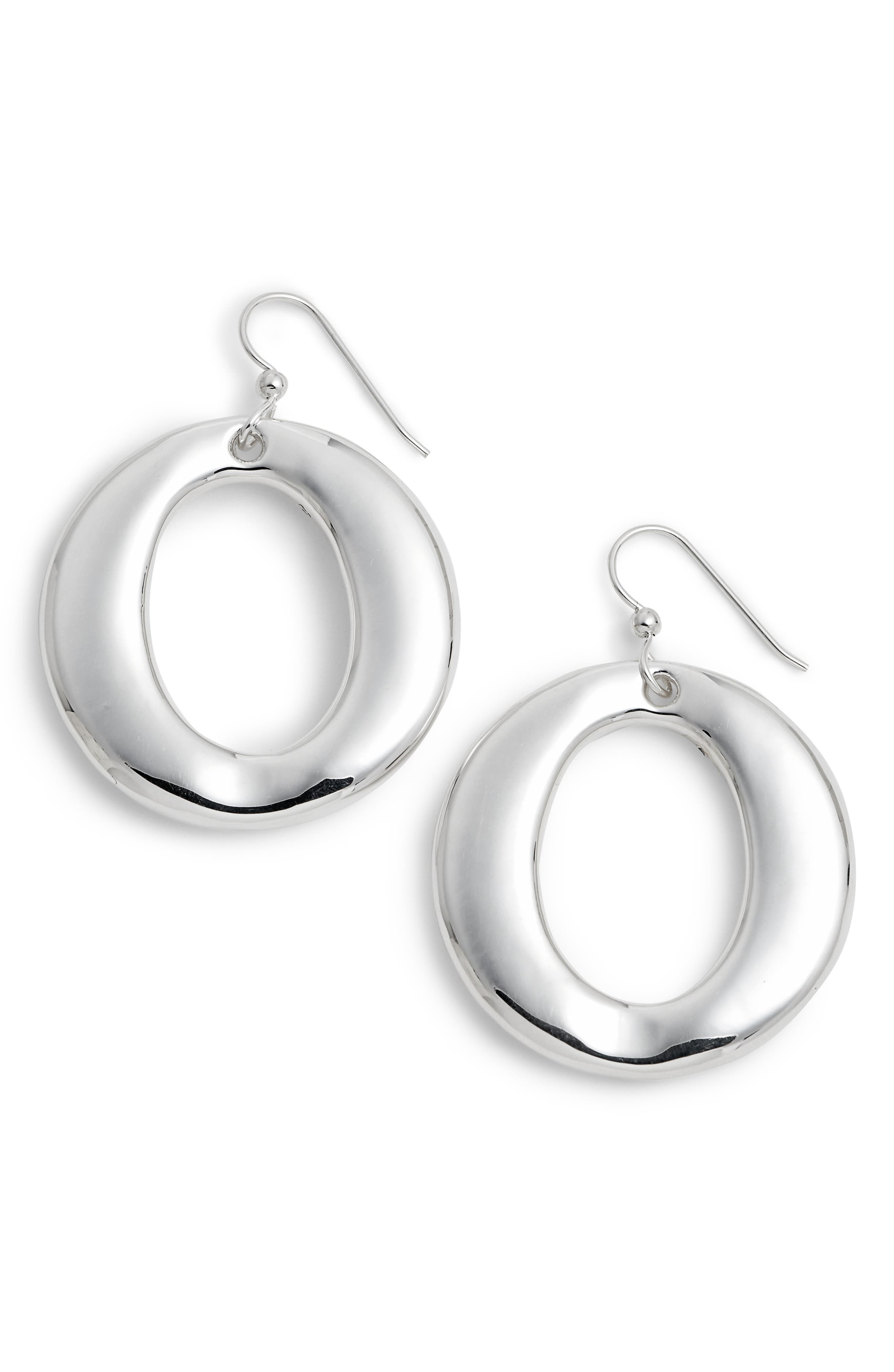 Round Open Wire Hoop Earrings,                             Main thumbnail 1, color,                             Silver