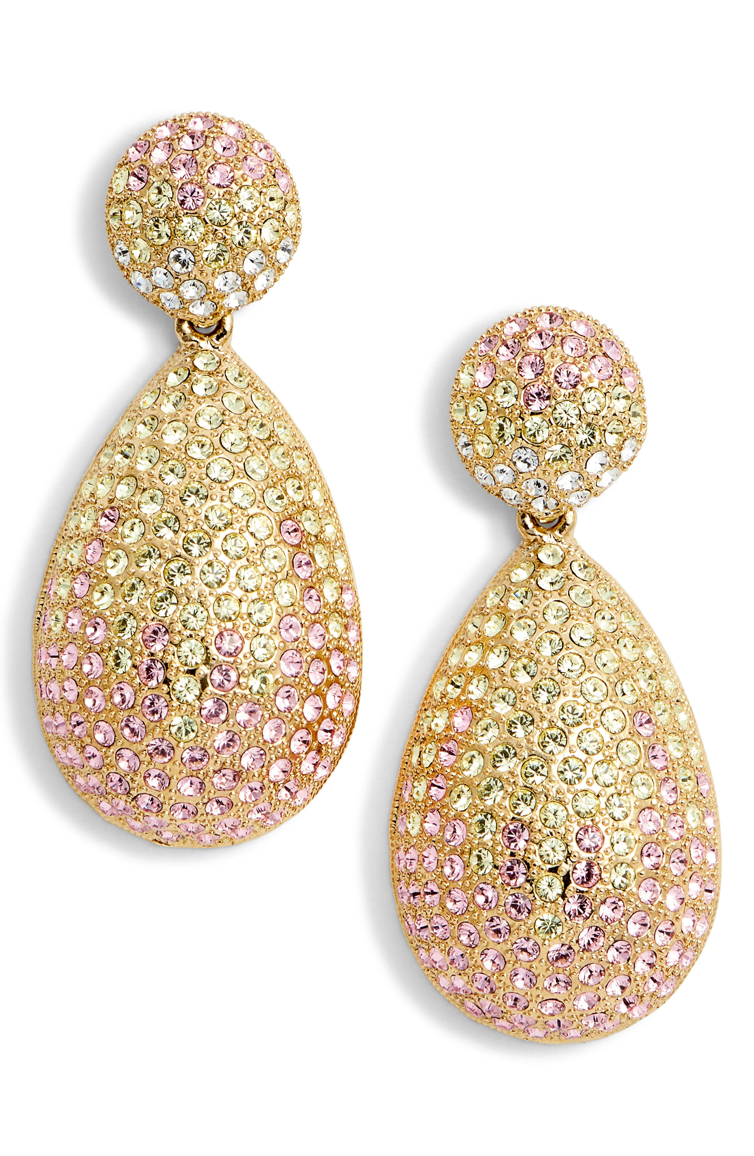 Large Pavé Teardrop Drop Earrings,                             Main thumbnail 1, color,                             Ombre Rose Multi/ Gold