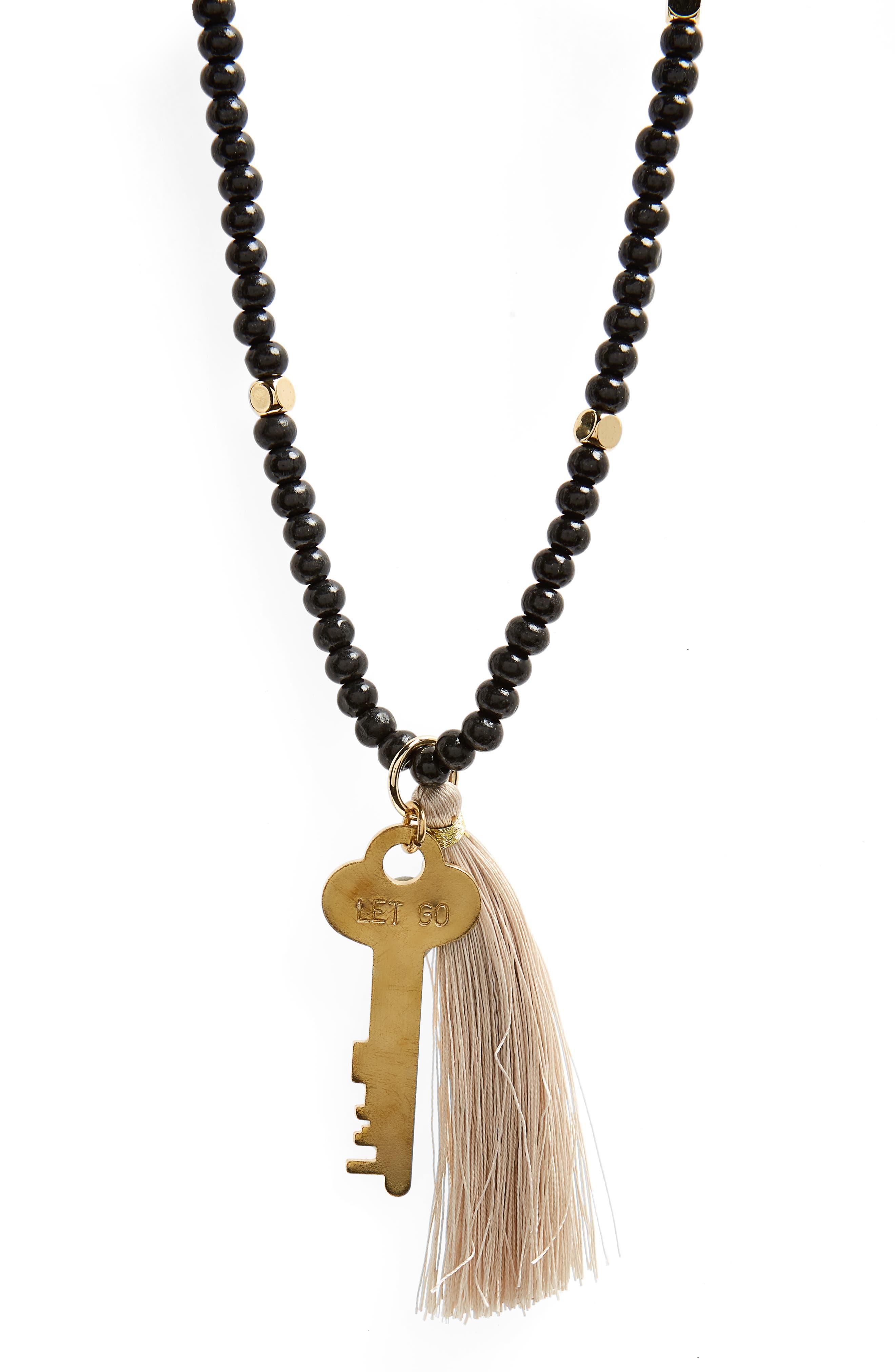 Inspiration Key Charm & Tassel Beaded Necklace,                             Alternate thumbnail 2, color,                             Ebony/ Gold- Let Go