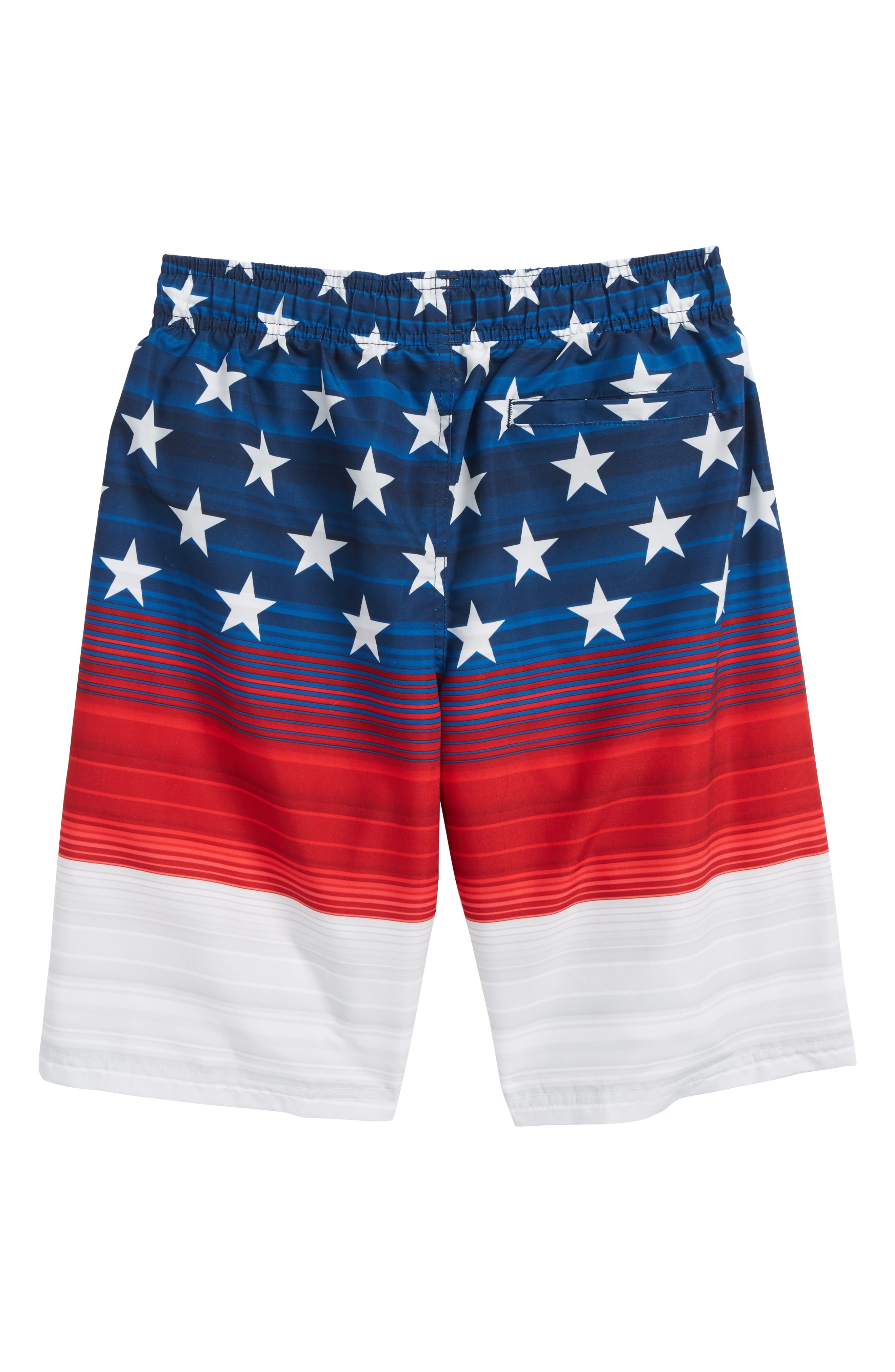Americana Stripe Volley Shorts,                             Alternate thumbnail 2, color,                             Red