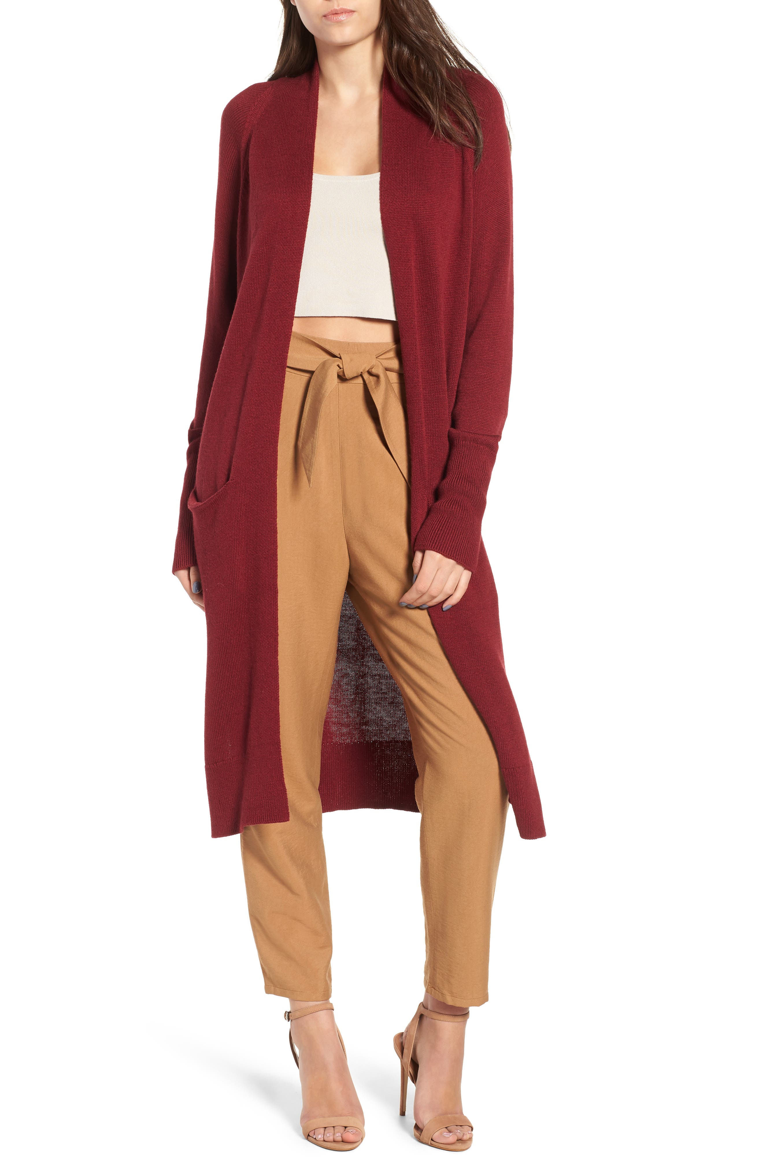 Side Split Midi Cardigan,                             Main thumbnail 1, color,                             Red Grape