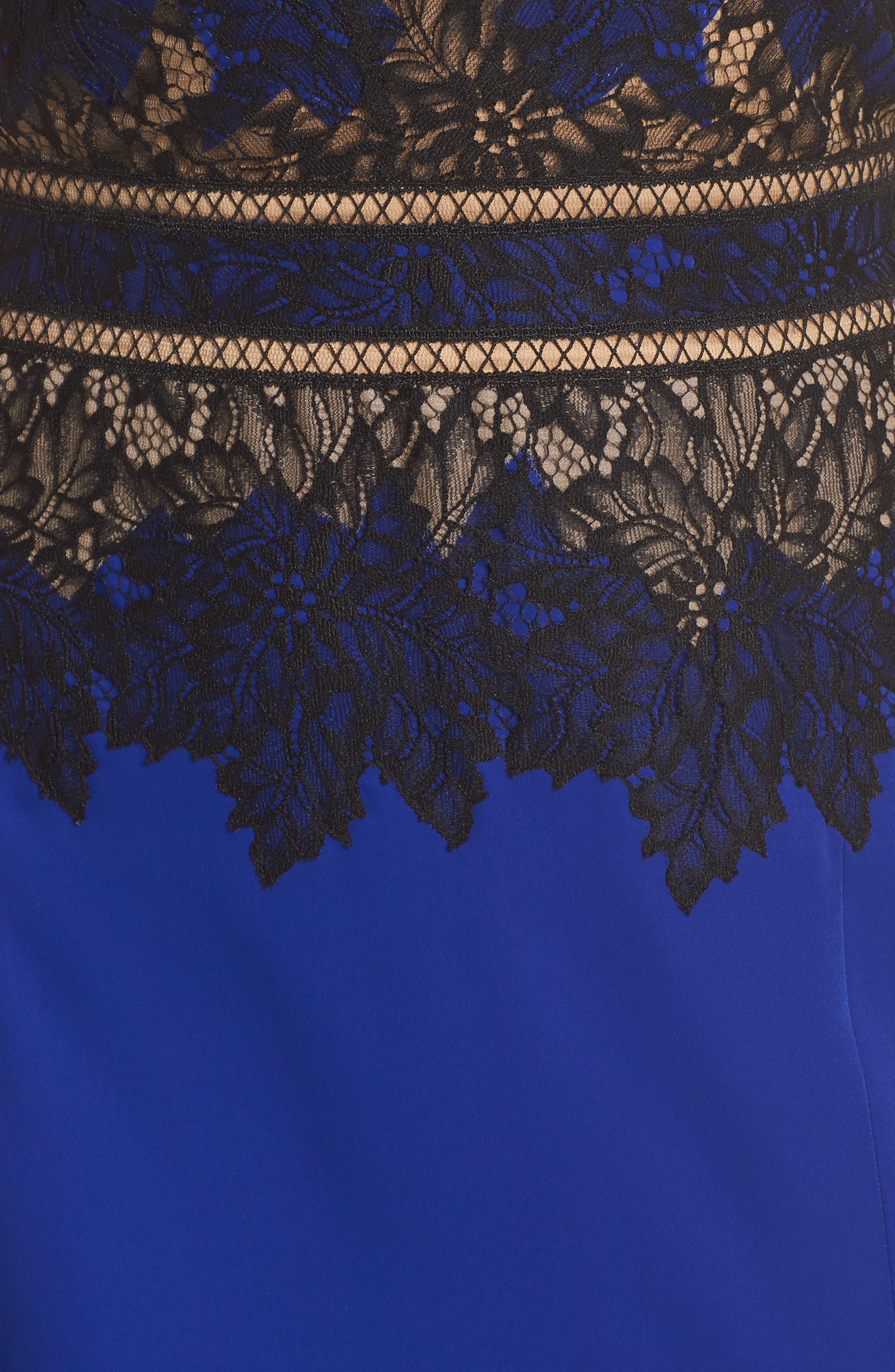 Violette Lace & Crepe Gown,                             Alternate thumbnail 5, color,                             Black Lake