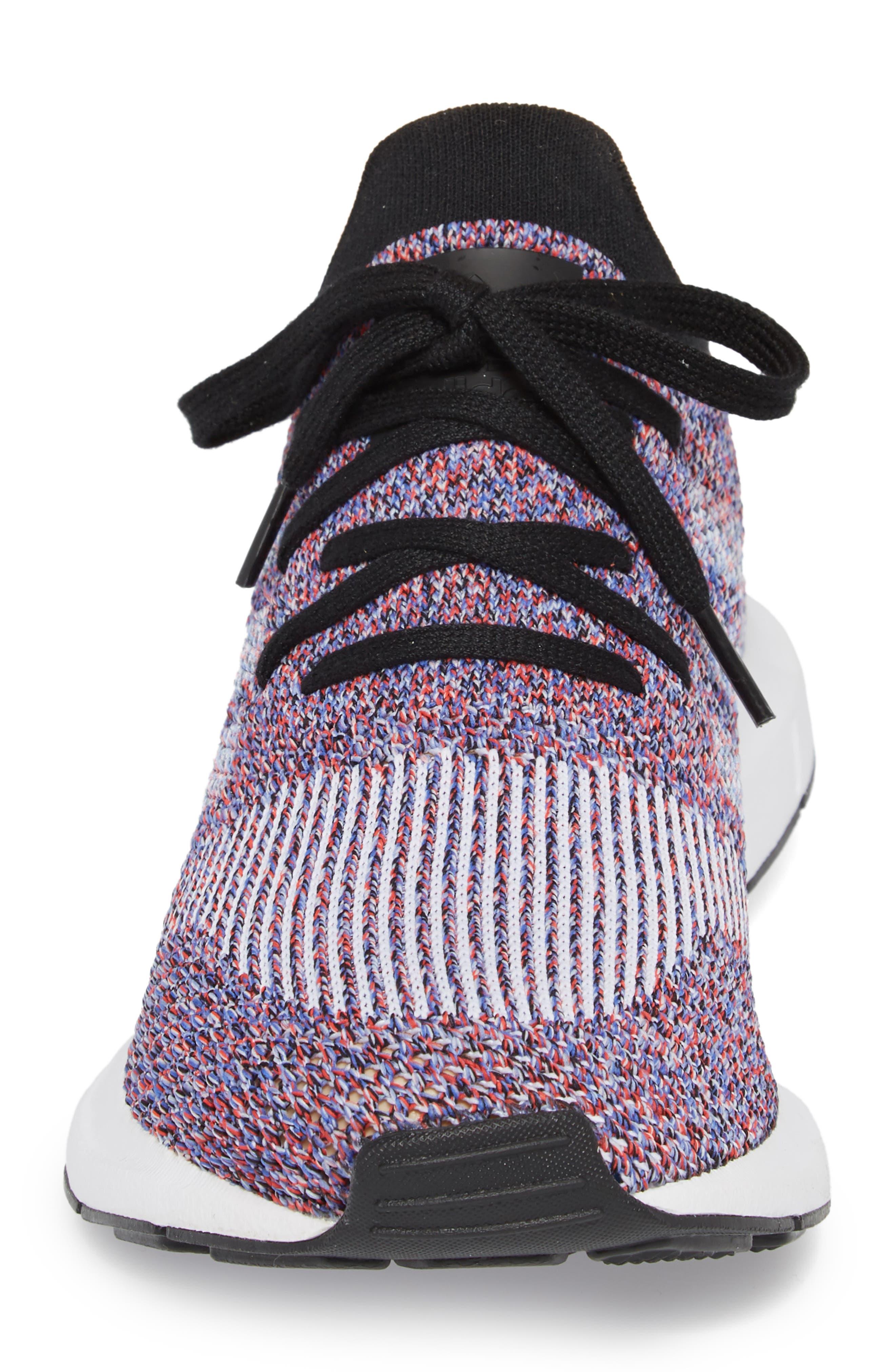 Swift Run Primeknit Sneaker,                             Alternate thumbnail 4, color,                             White/ Purple/ Black