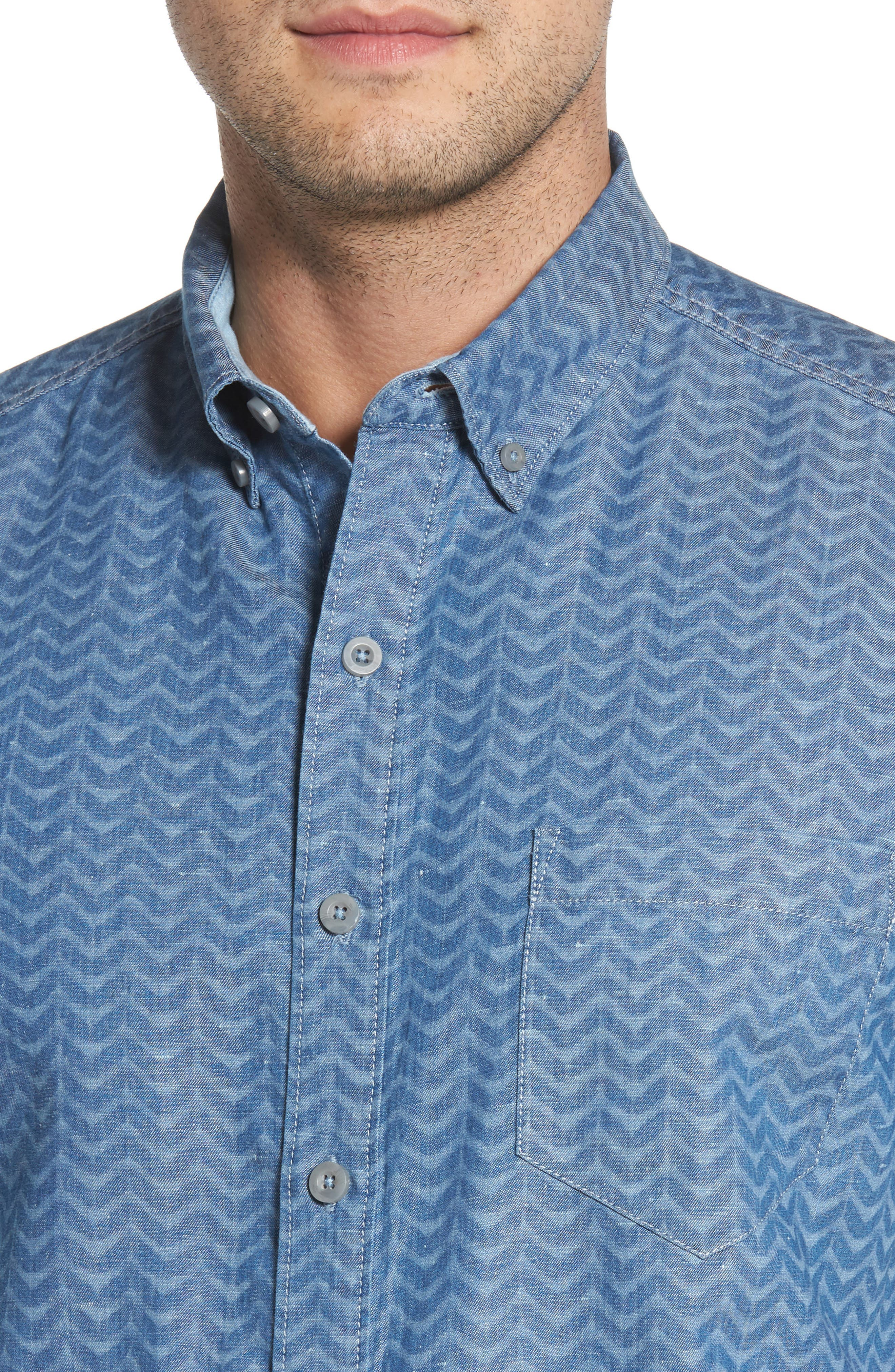 Chevron Cantina Sport Shirt,                             Alternate thumbnail 2, color,                             Light Indigo