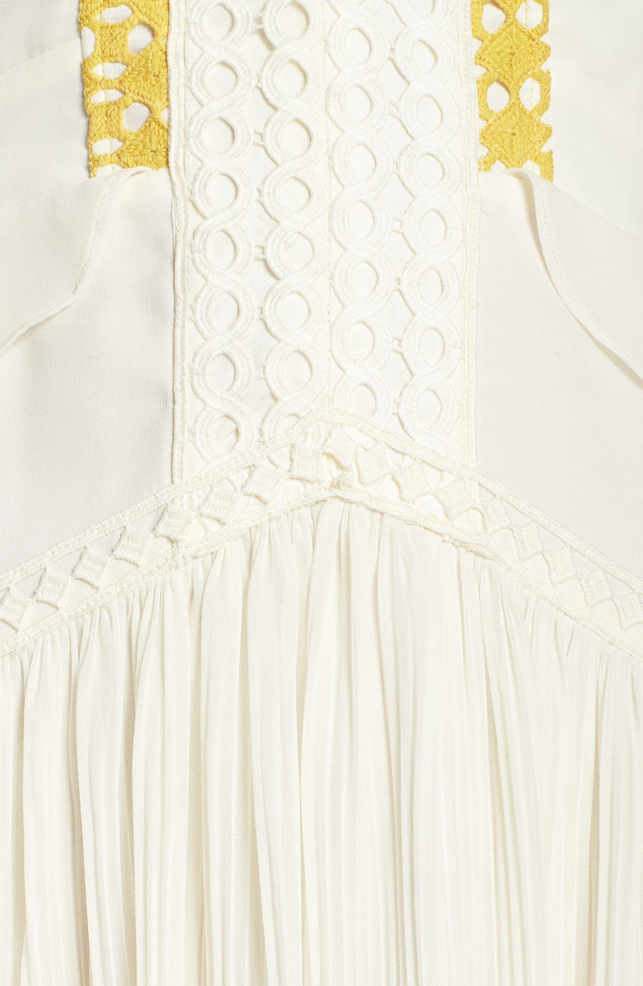 Colorblock Pleated Gown,                             Alternate thumbnail 6, color,                             Off White/ Pink