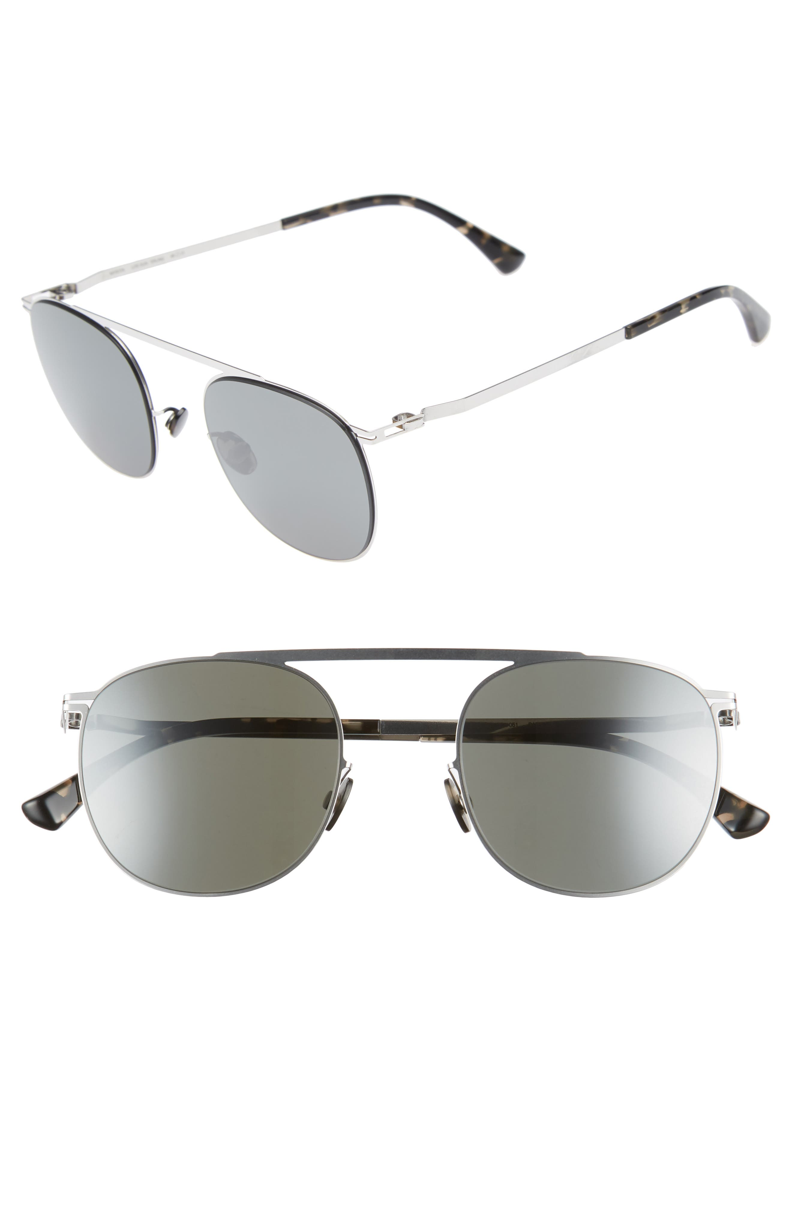 Erling 48mm Mirrored Sunglasses,                             Main thumbnail 1, color,                             Shiny Silver