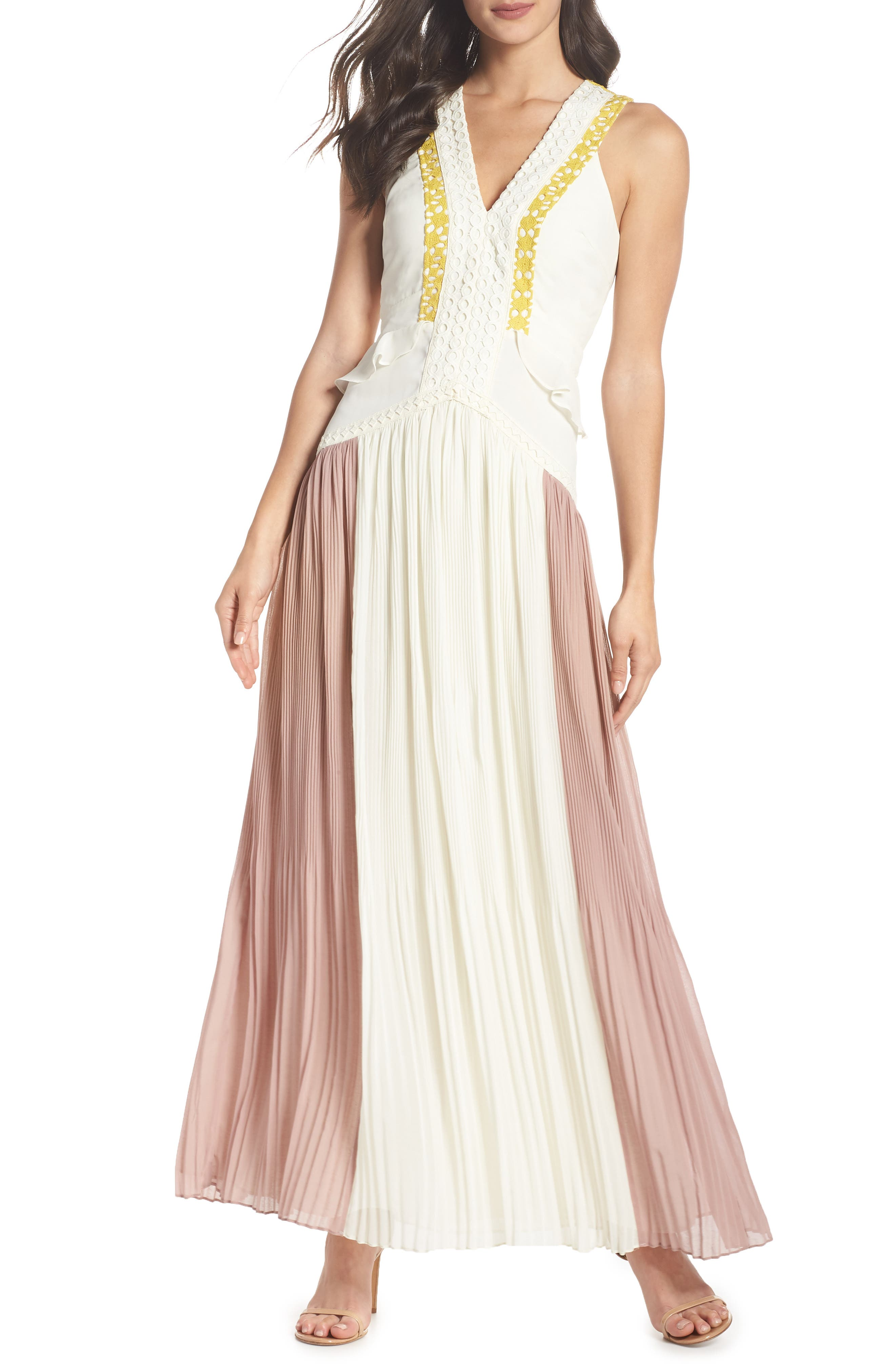 Colorblock Pleated Gown,                             Main thumbnail 1, color,                             Off White/ Pink
