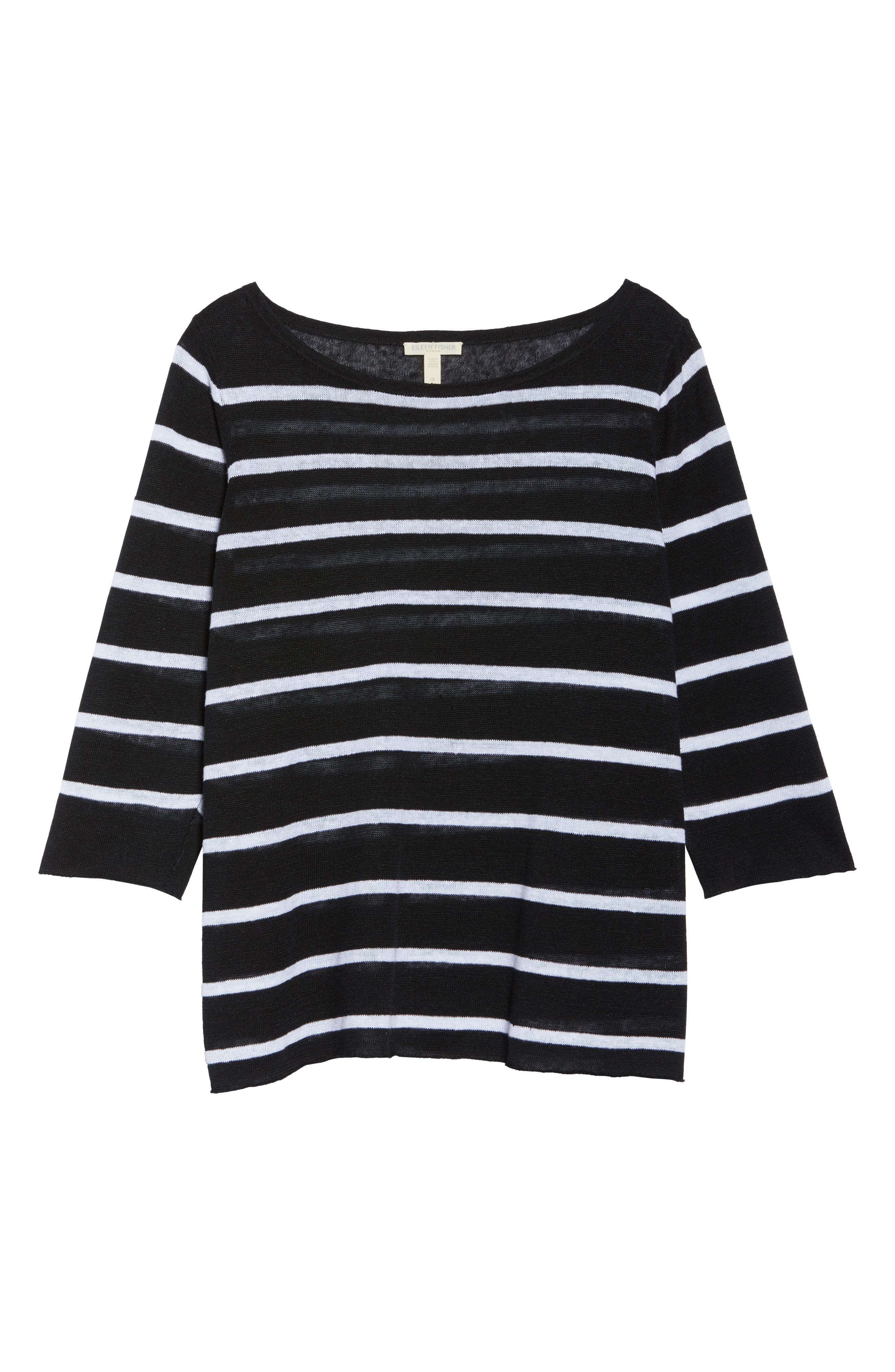 Bateau Neck Stripe Linen Top,                             Alternate thumbnail 7, color,                             Black/ White
