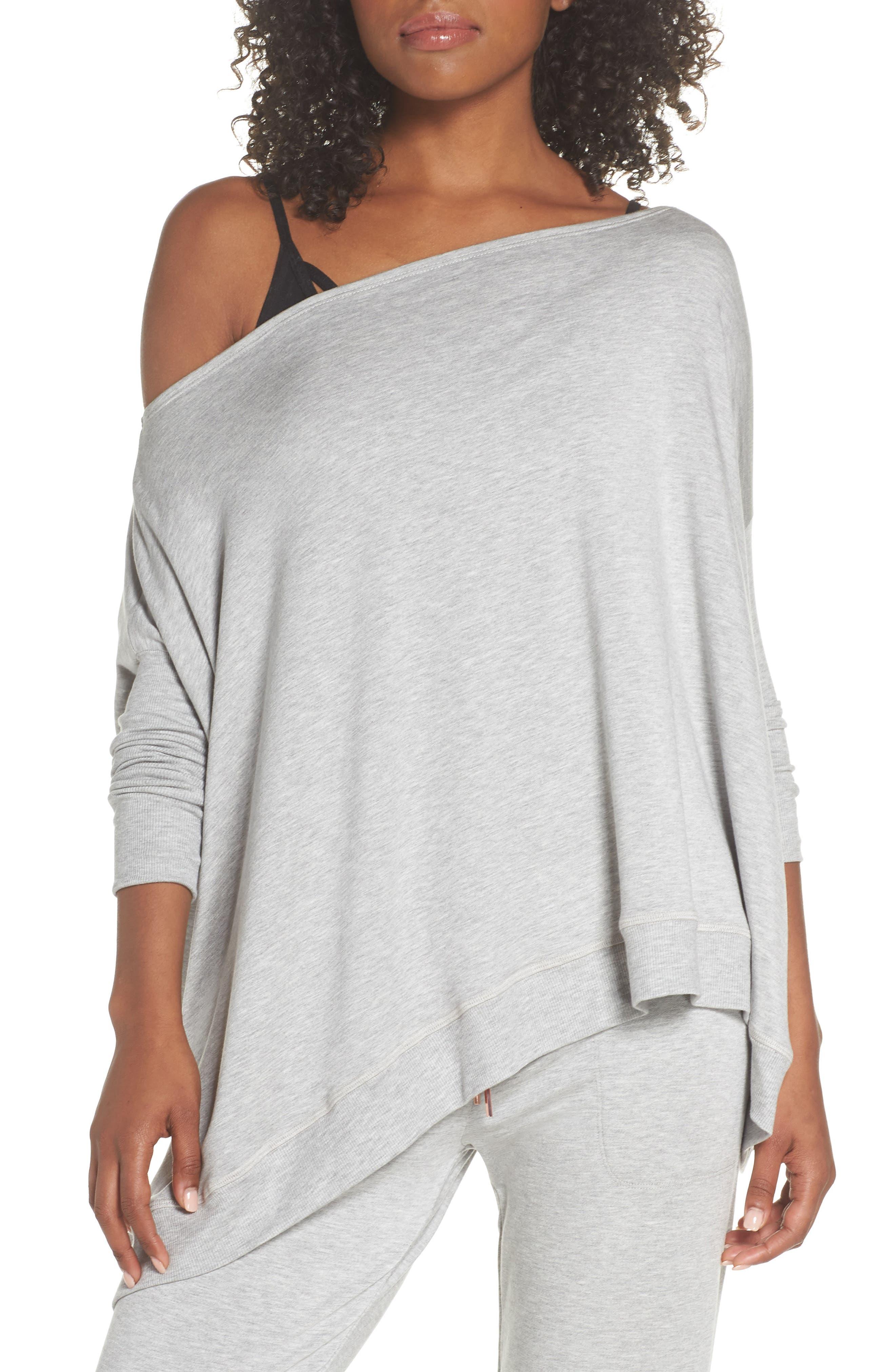 'Cozy' Convertible Fleece Pullover,                             Alternate thumbnail 2, color,                             Light Heather Gray