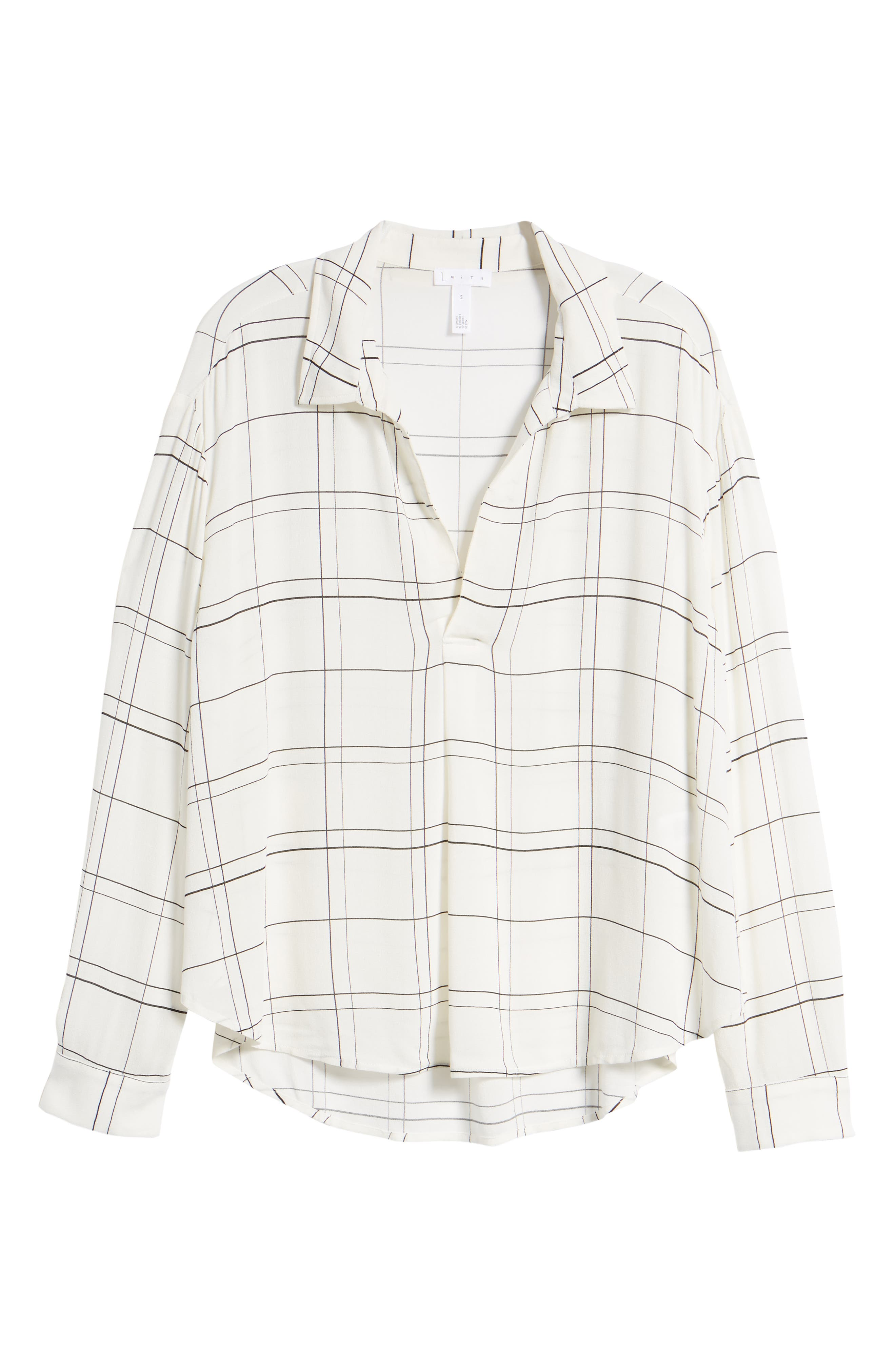 Henley Woven Shirt,                             Alternate thumbnail 6, color,                             Ivory Glam City Check