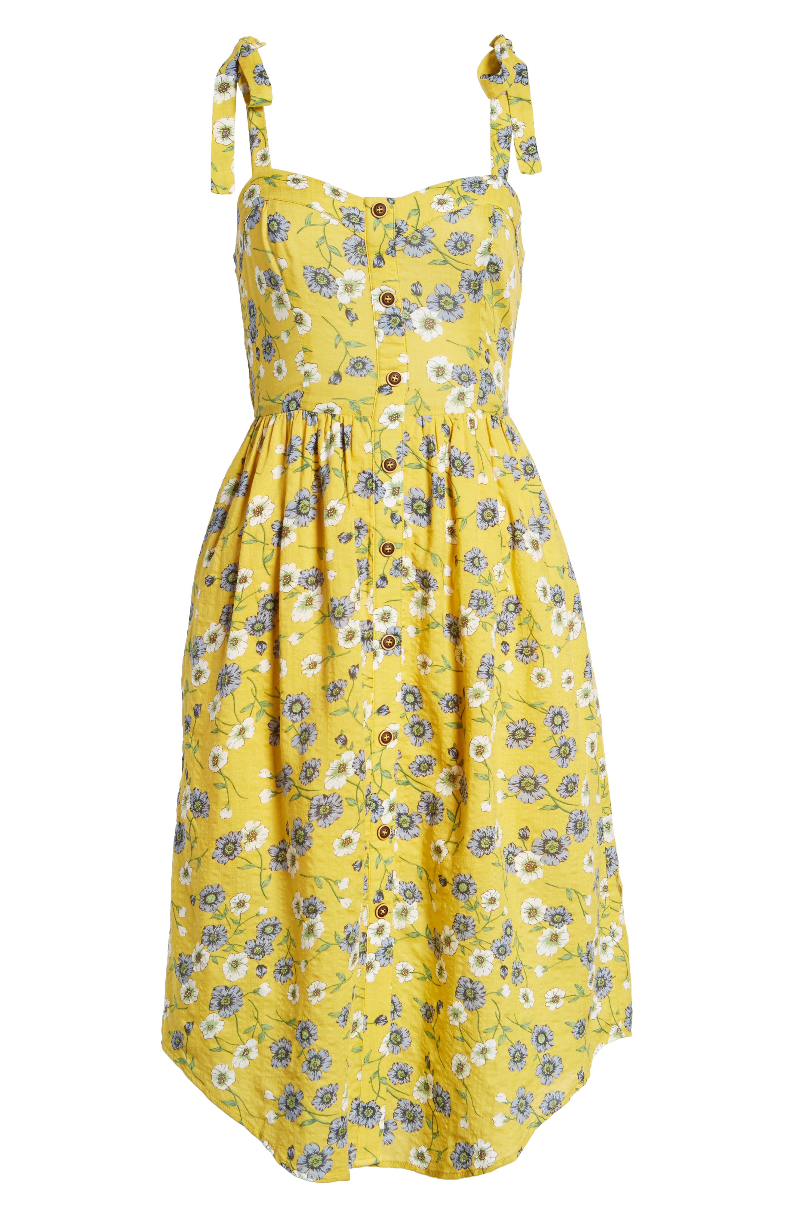 Floral Button Front Sundress,                             Alternate thumbnail 8, color,                             Yellow Floral