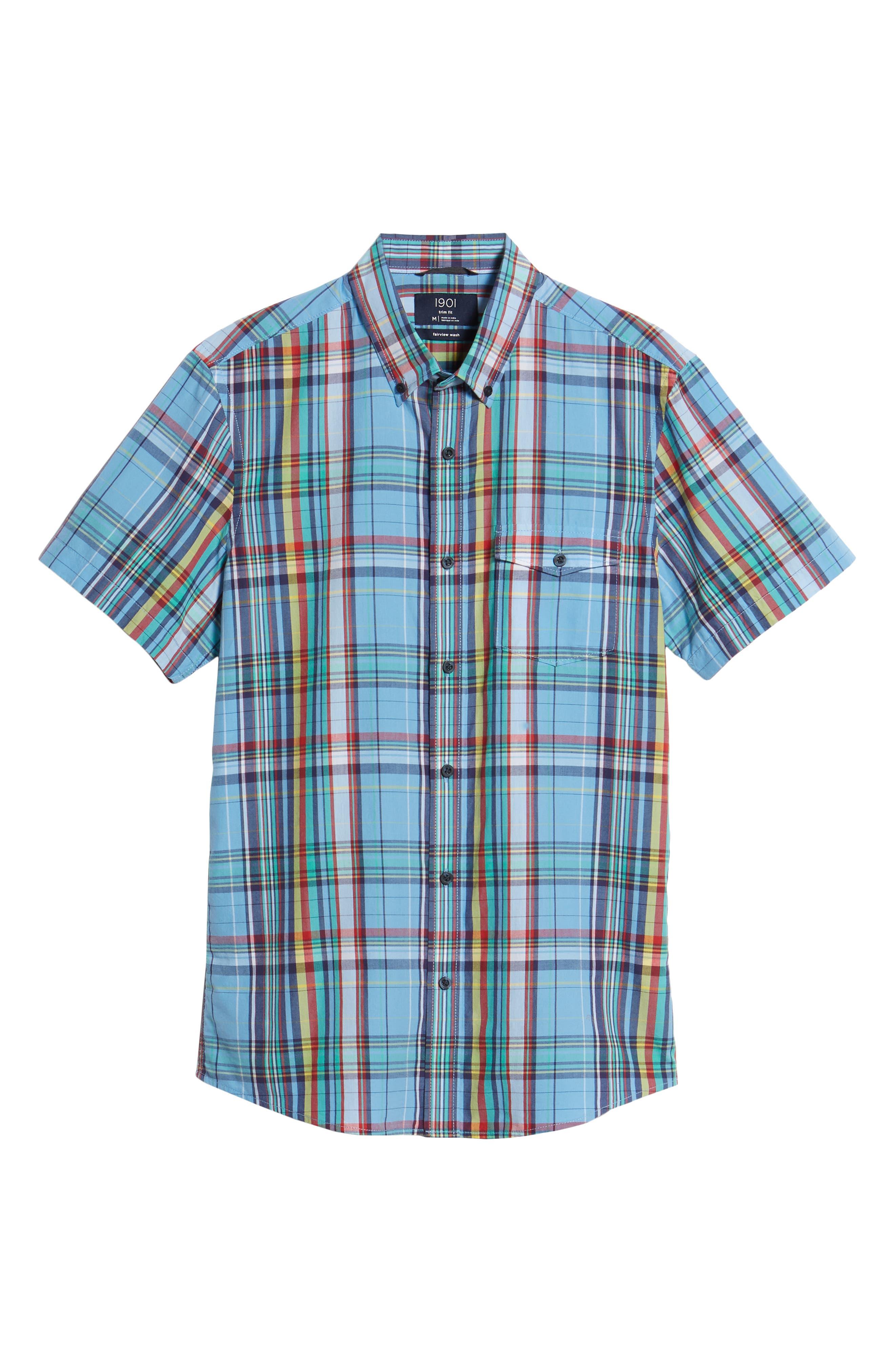 Ivy Trim Fit Madras Plaid Sport Shirt,                             Alternate thumbnail 6, color,                             Blue Chambray Multi Plaid