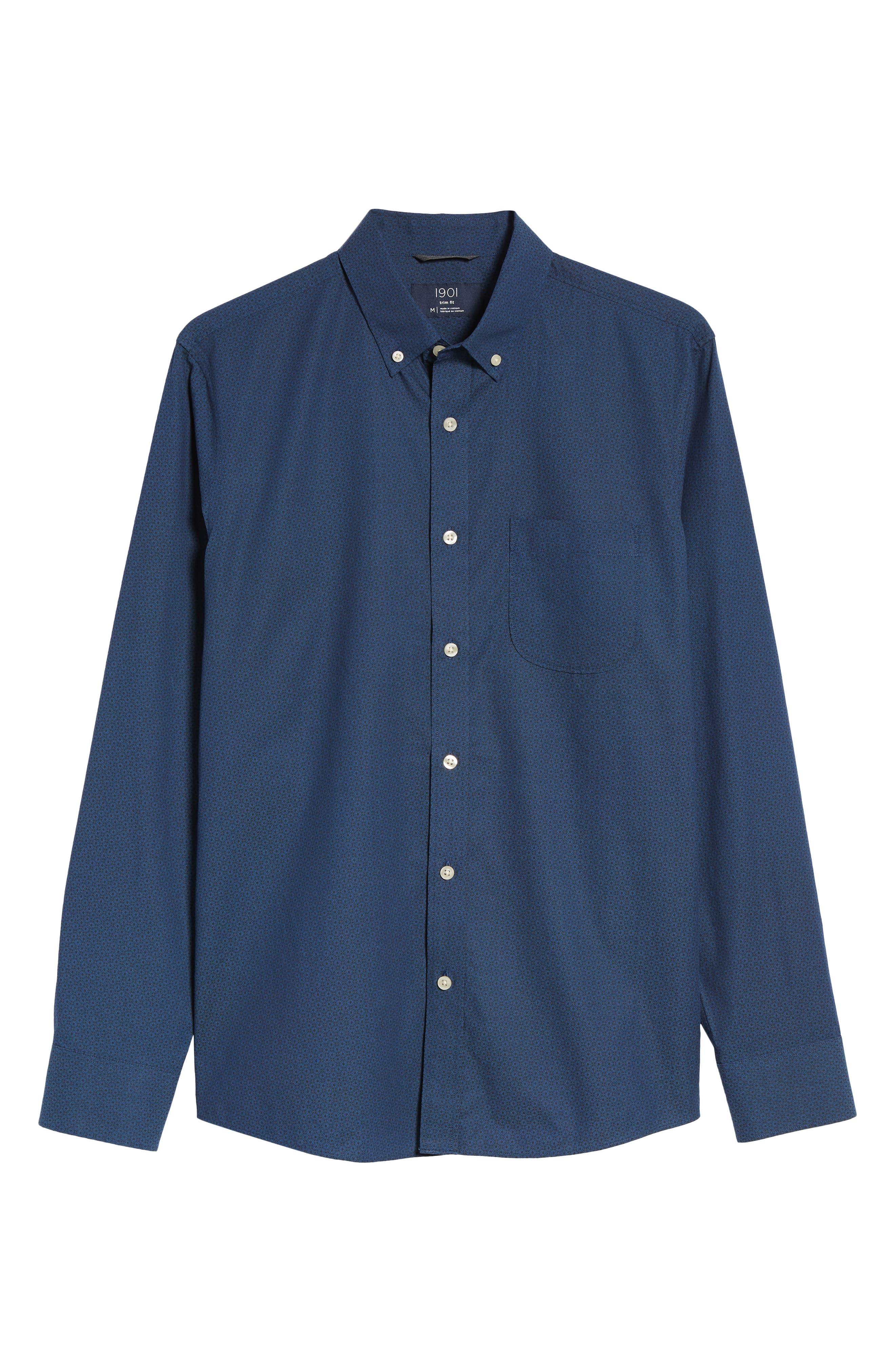 Trim Fit Round Pocket Sport Shirt,                             Alternate thumbnail 6, color,                             Blue Black Flower Print