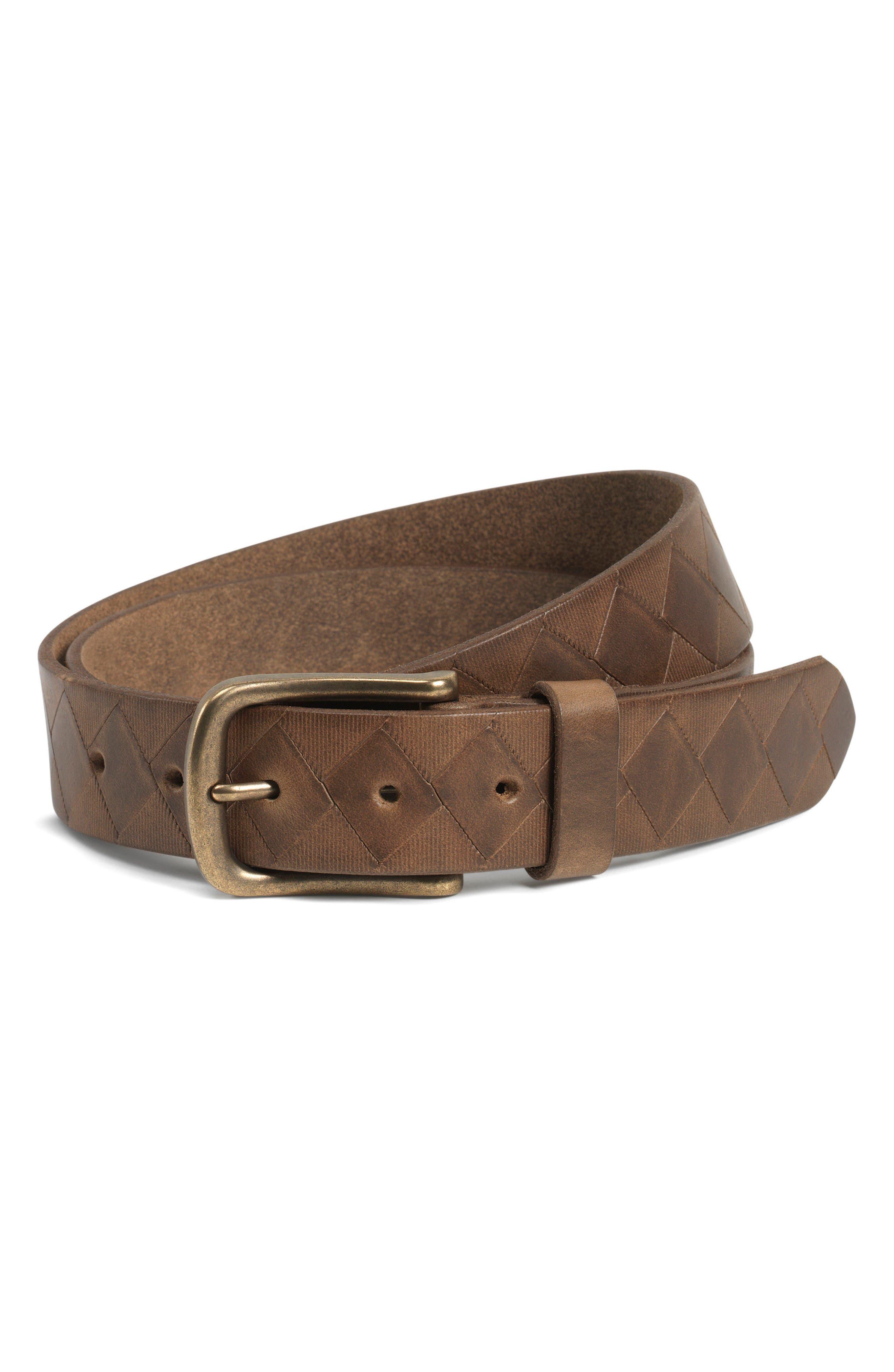Douglas Leather Belt,                             Main thumbnail 1, color,                             Brown