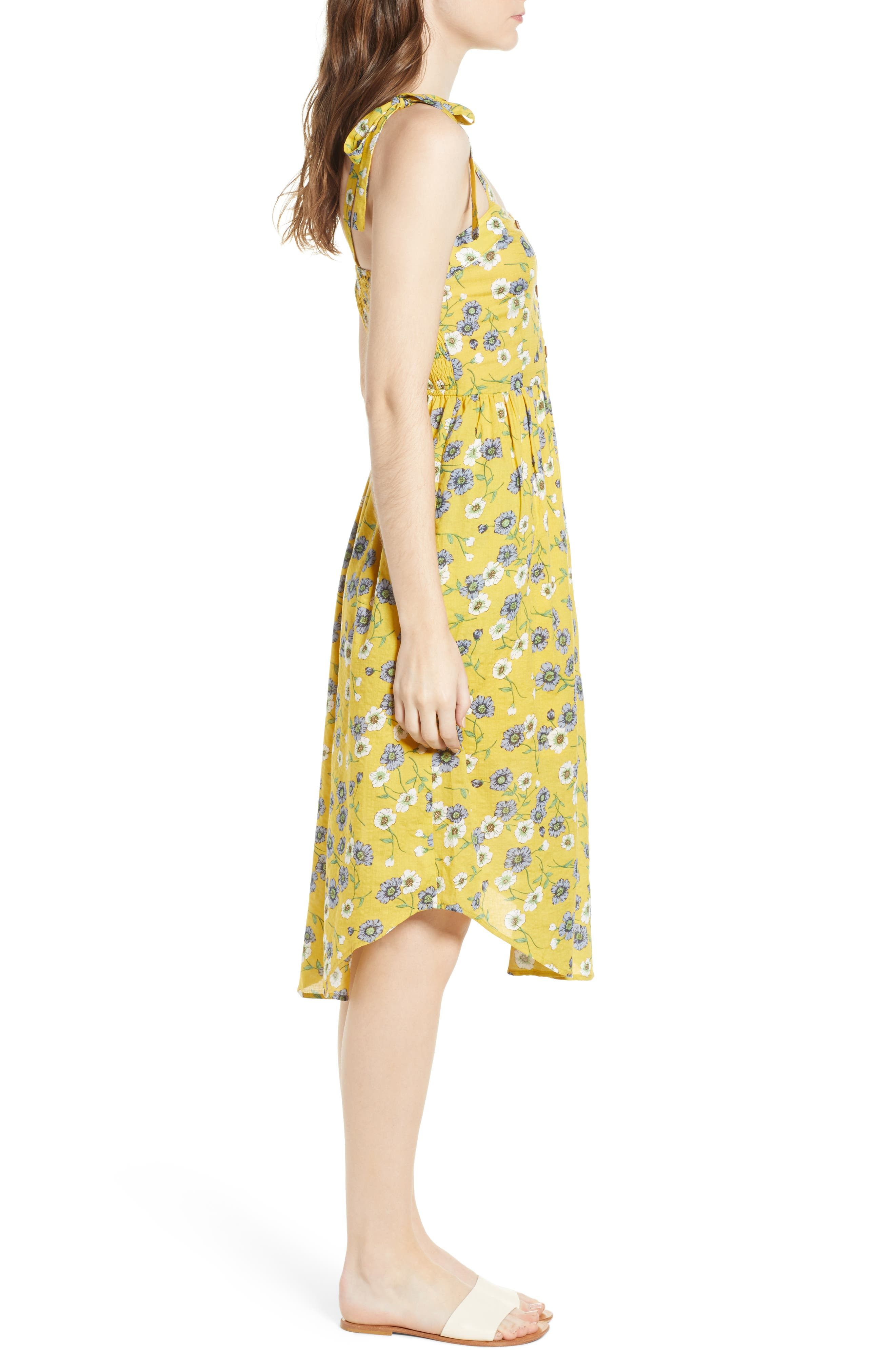 Floral Button Front Sundress,                             Alternate thumbnail 4, color,                             Yellow Floral