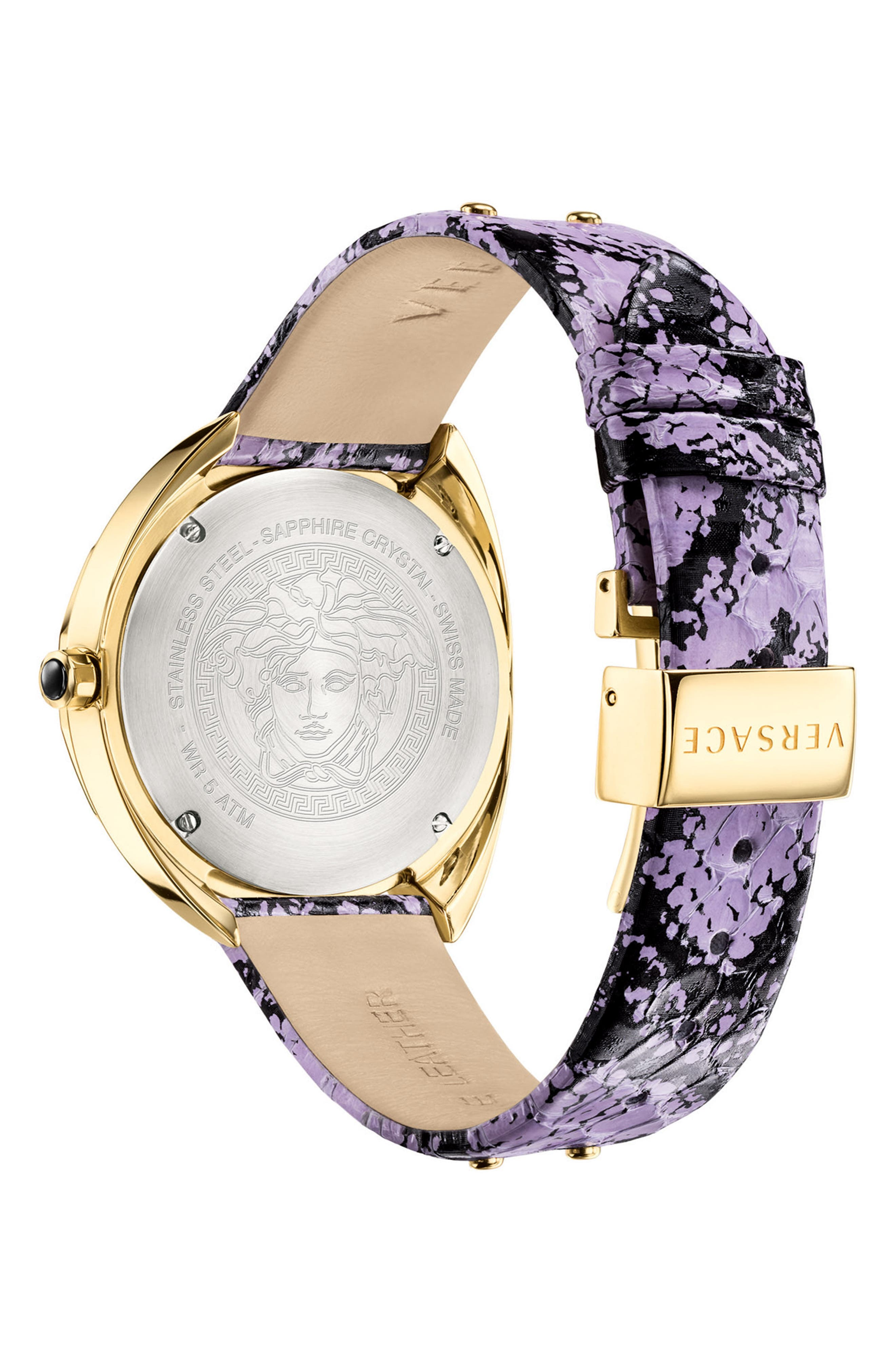 Shadov Snakeskin Leather Strap Watch, 38mm,                             Alternate thumbnail 2, color,                             Purple/ Gold