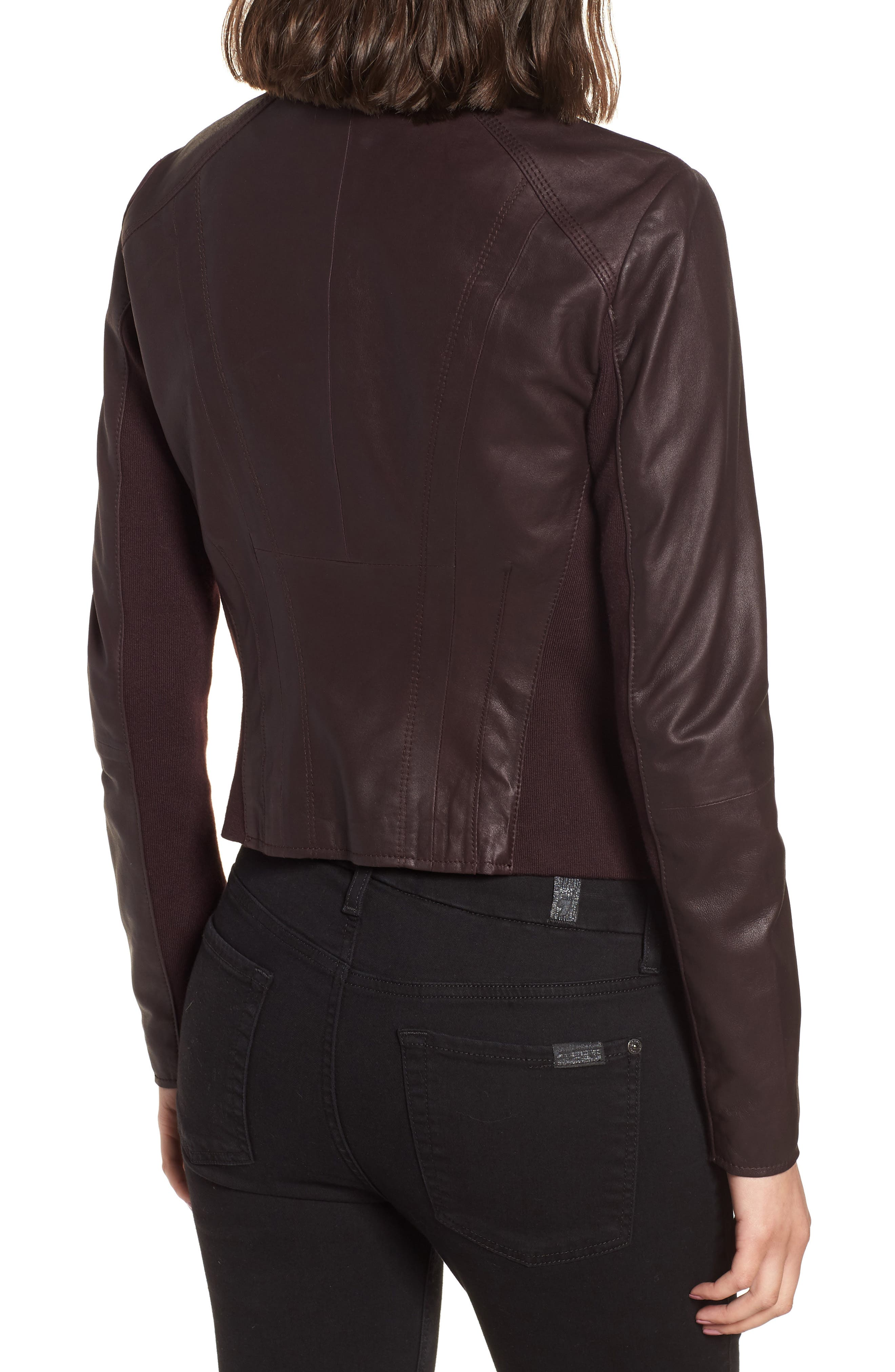 Marc New York by Andrew Marc 'Felix' Stand Collar Leather Jacket,                             Alternate thumbnail 2, color,                             Burgundy