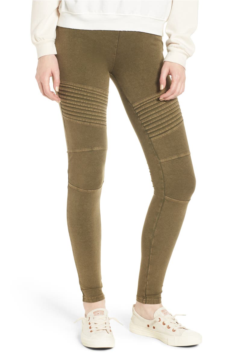 Washed Moto Leggings,                         Main,                         color, Olive Dark