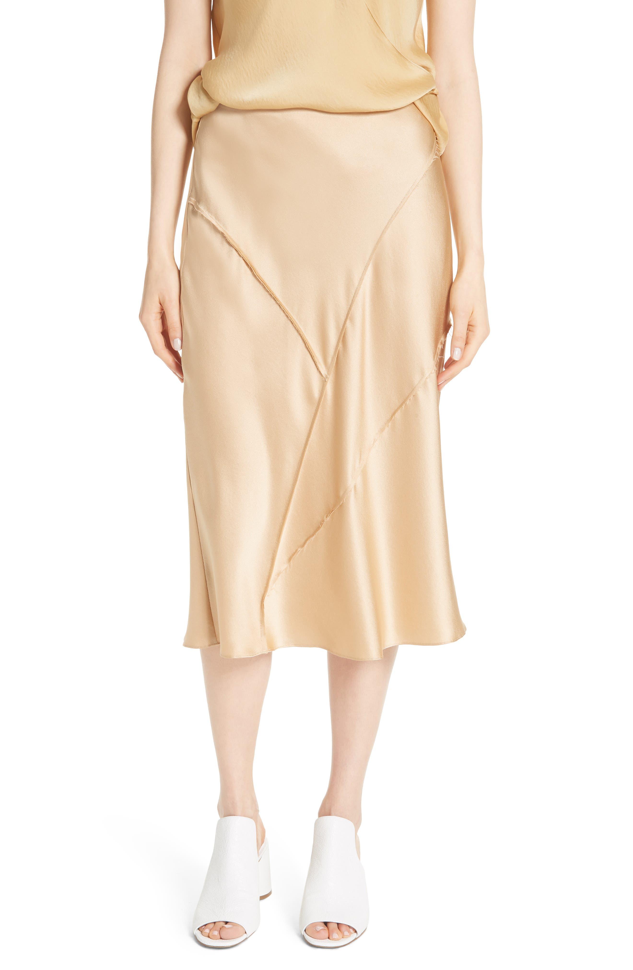 Raw Edge Bias Silk Skirt,                             Main thumbnail 1, color,                             Ginseng