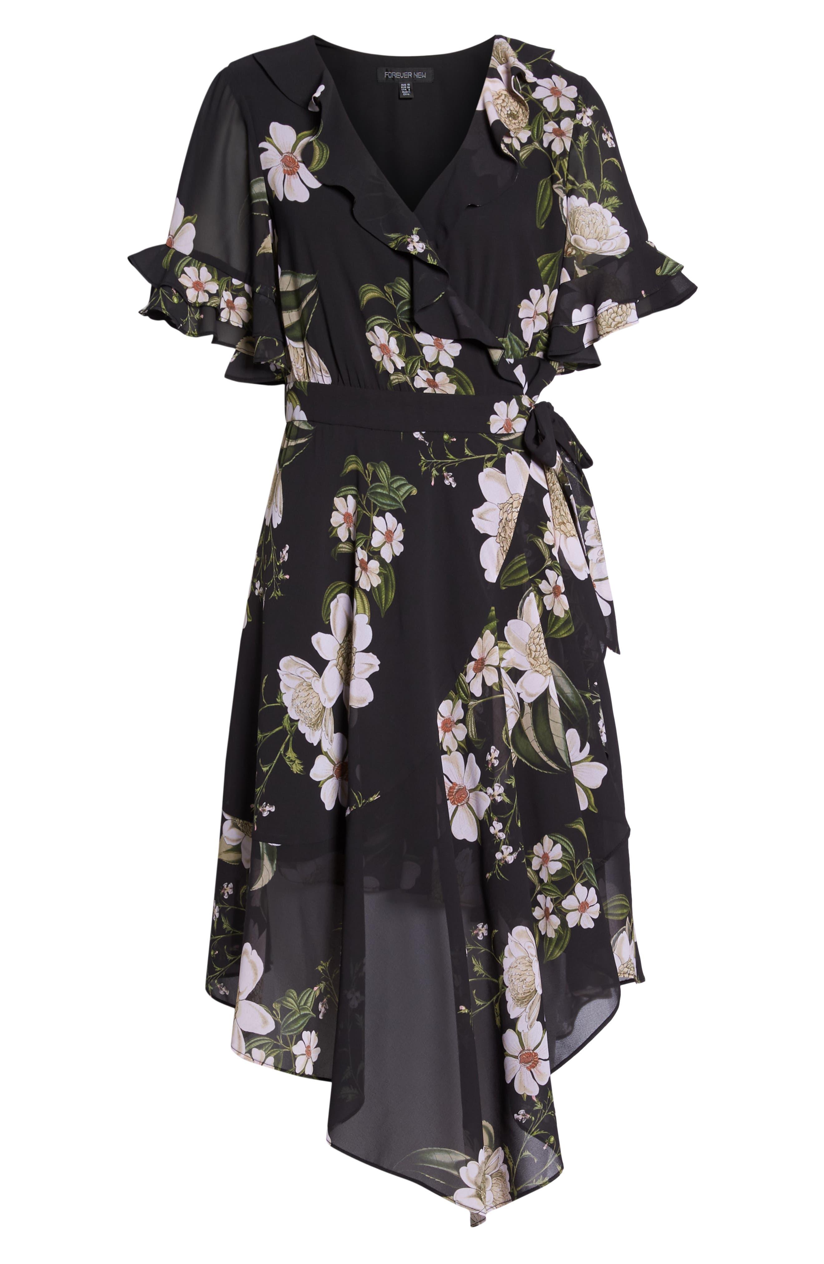 Floral Print Wrap Dress,                             Alternate thumbnail 7, color,                             Dark Floral Print