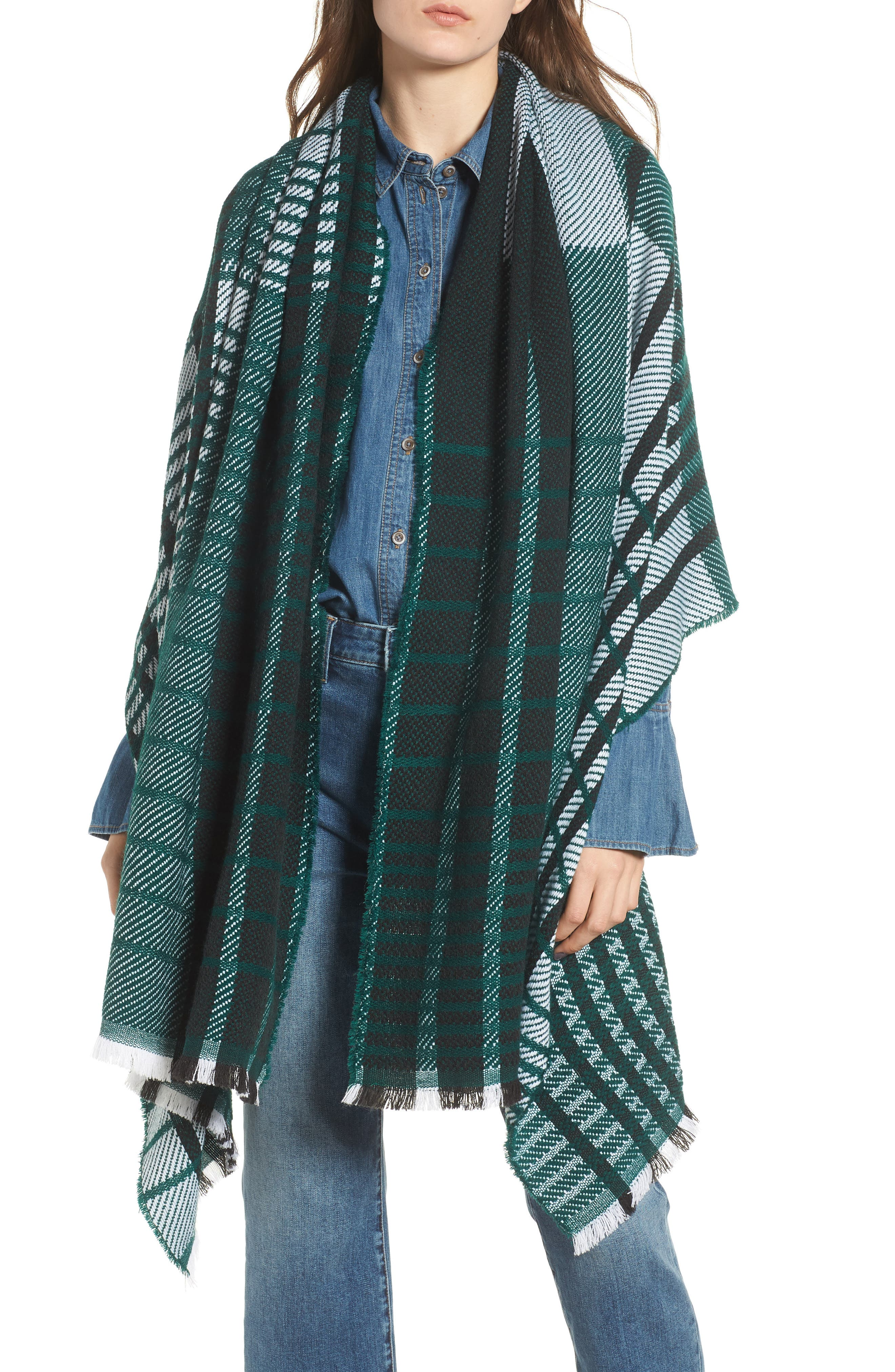 Plaid Blanket Wrap,                         Main,                         color, Green Combo