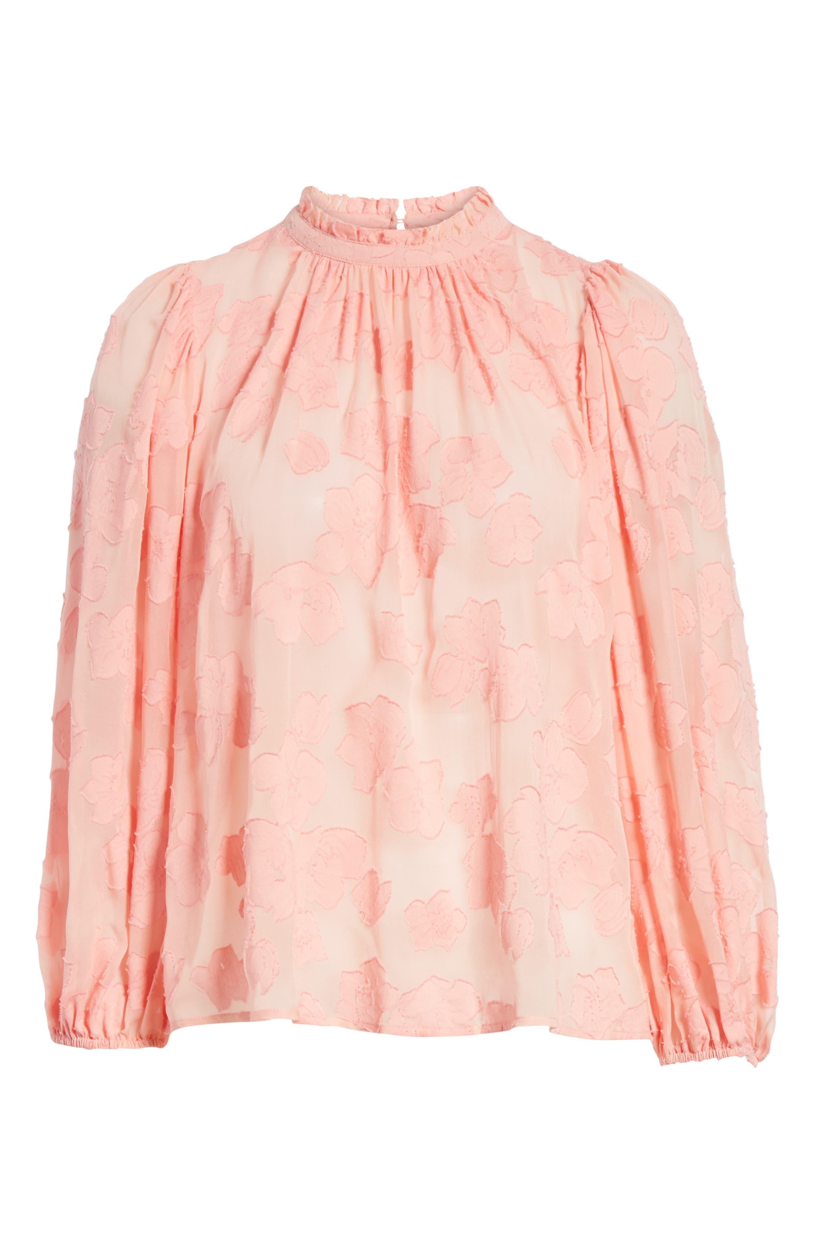 Sandrine Silk & Cotton Jacquard Blouse,                             Alternate thumbnail 6, color,                             Bubblegum
