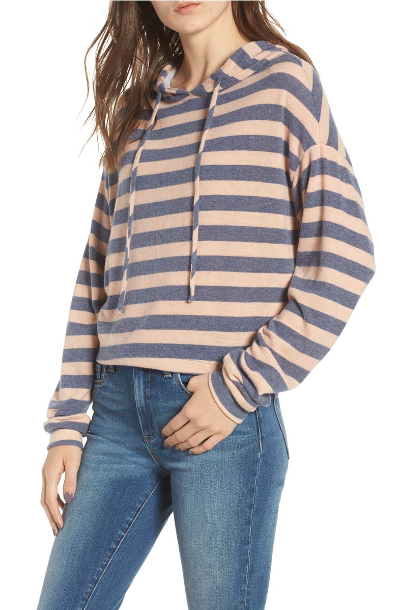 Stripe Brushed Hacci Hoodie,                         Main,                         color, Grey/Blush Stripe