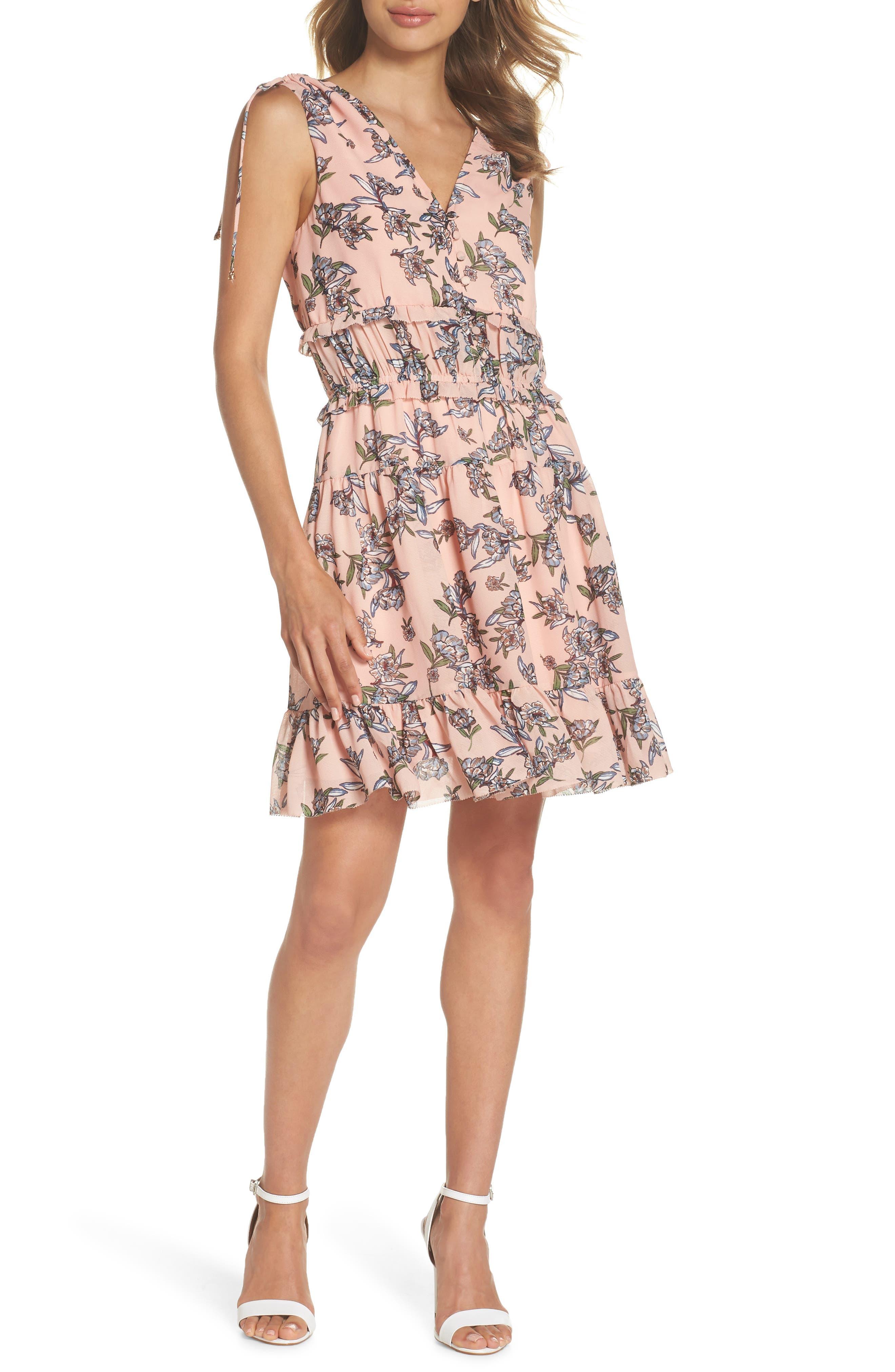 Jax Floral Dress,                             Main thumbnail 1, color,                             Blush