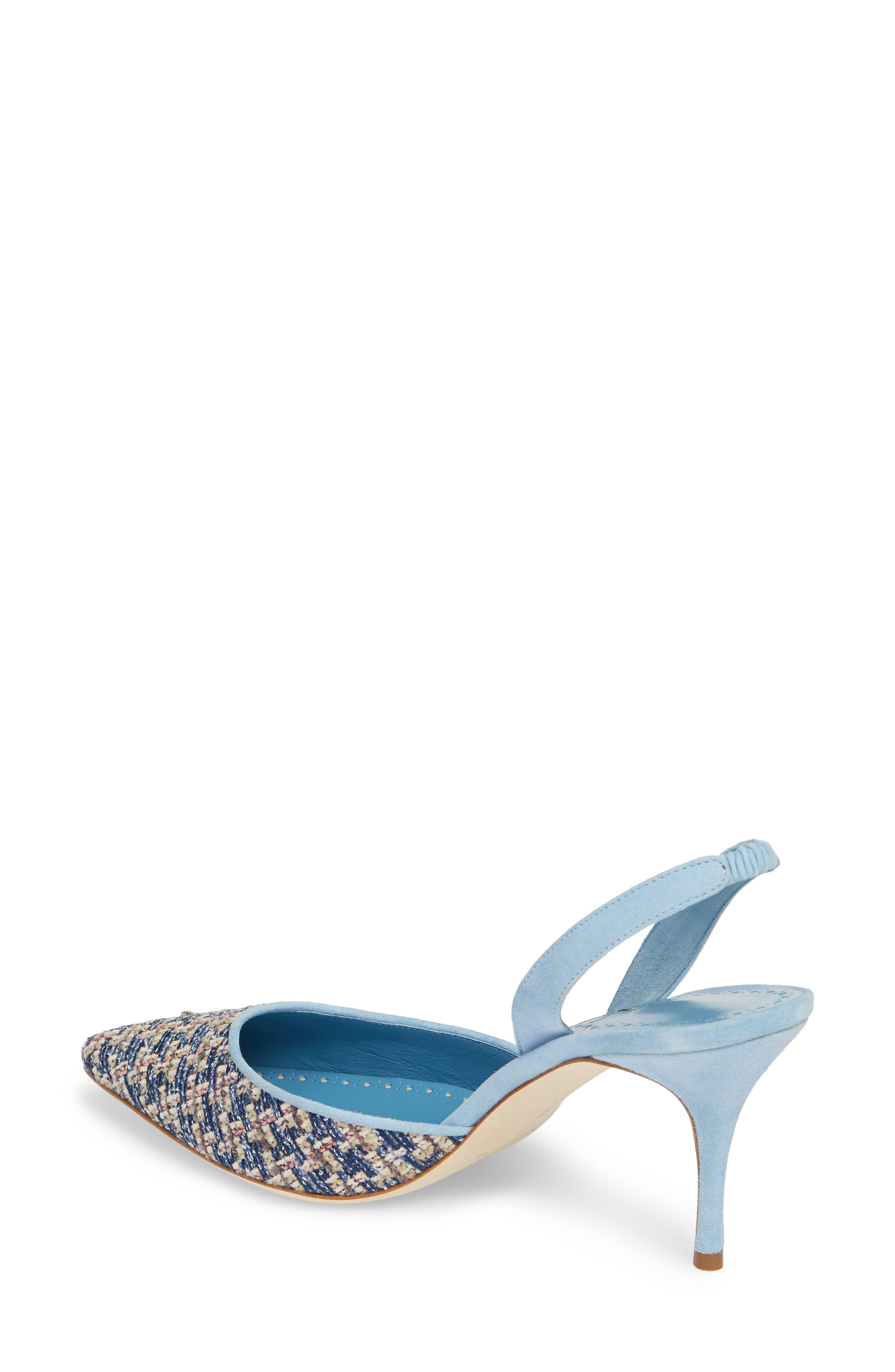 'Carolyne' Pointy Toe Slingback Pump,                             Alternate thumbnail 2, color,                             Blue Tweed