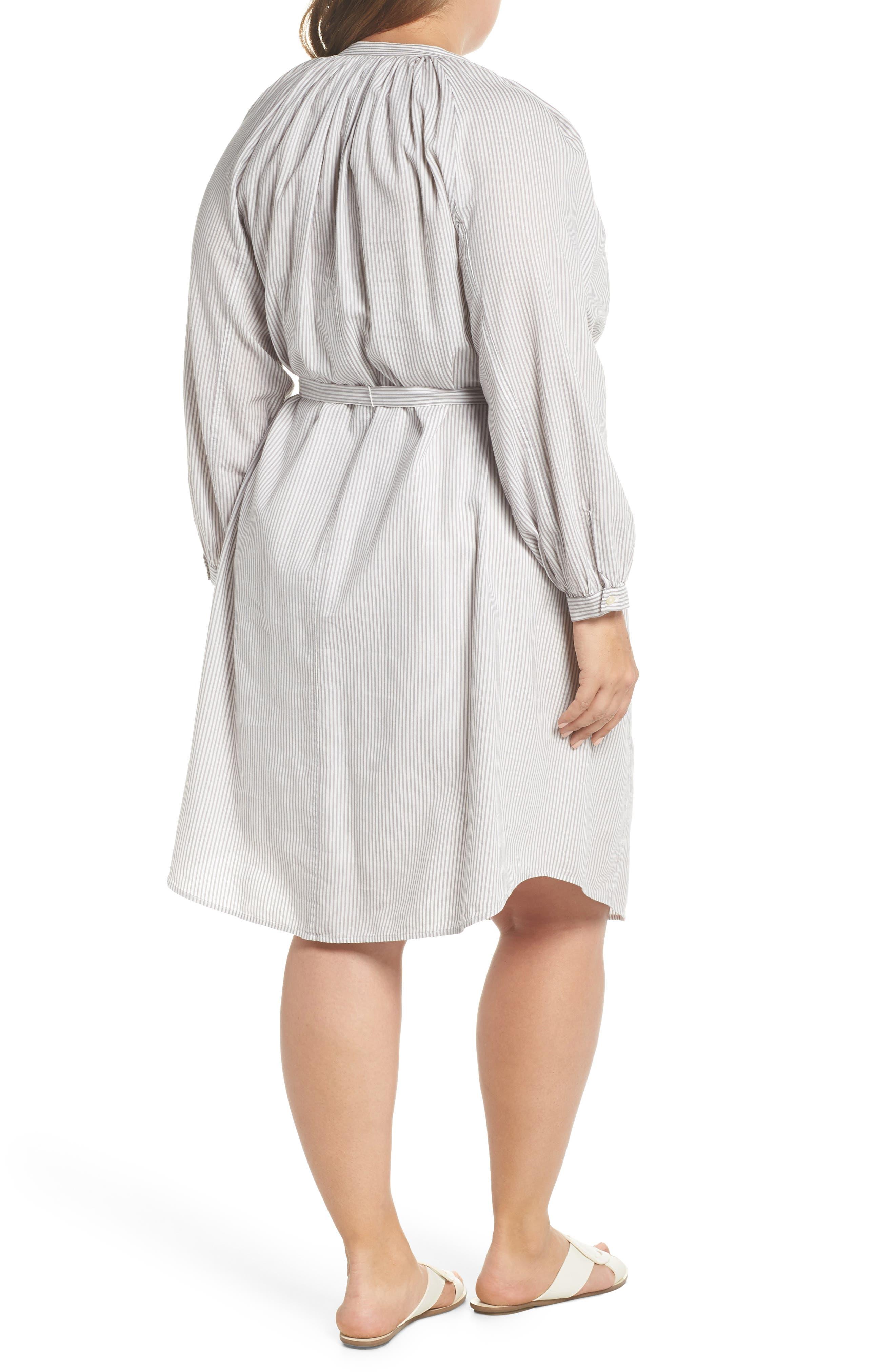 Stripe Peasant Dress,                             Alternate thumbnail 2, color,                             Grey Multi