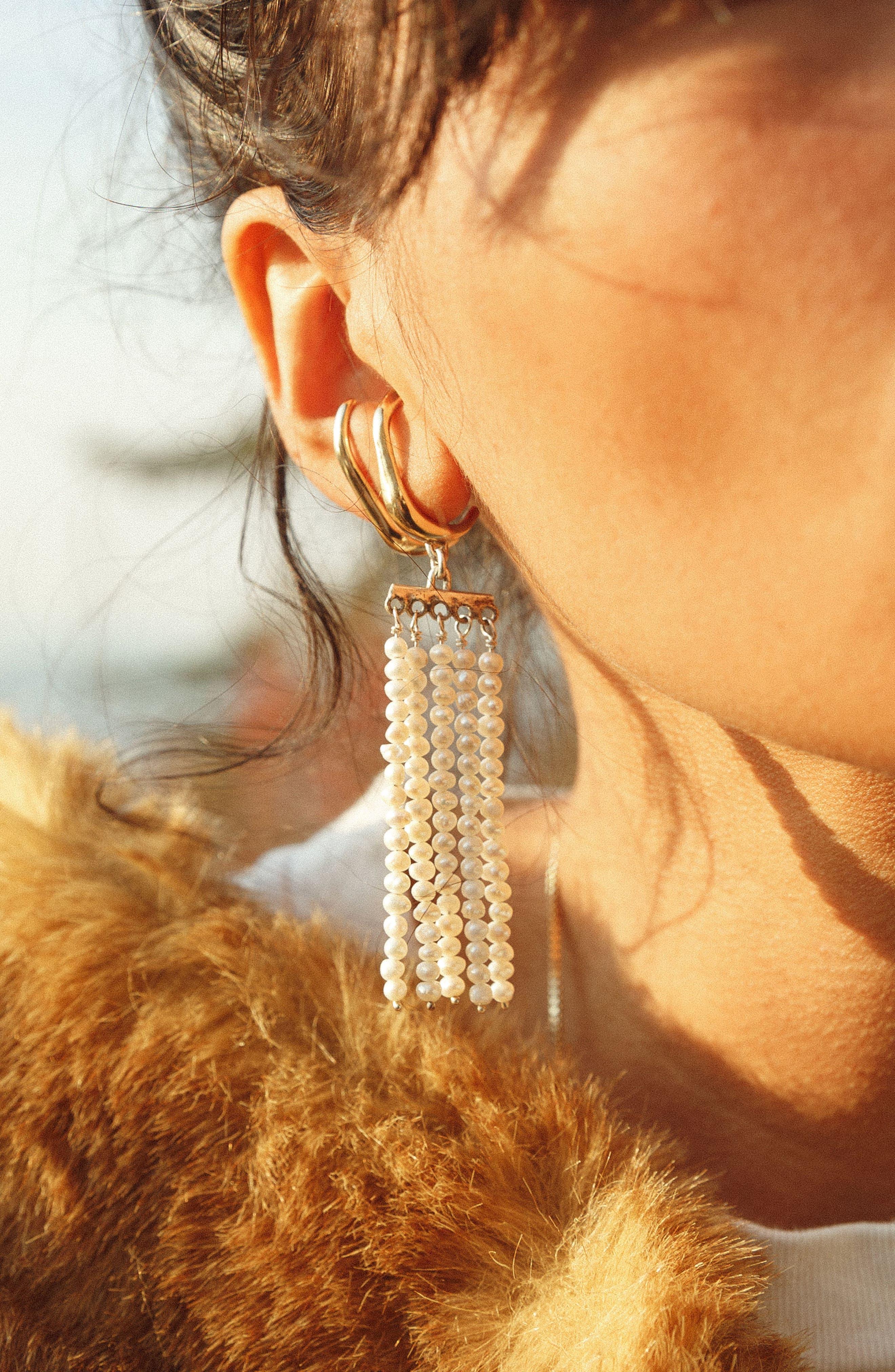 Swing Pearl Earrings,                             Alternate thumbnail 6, color,                             Bronze