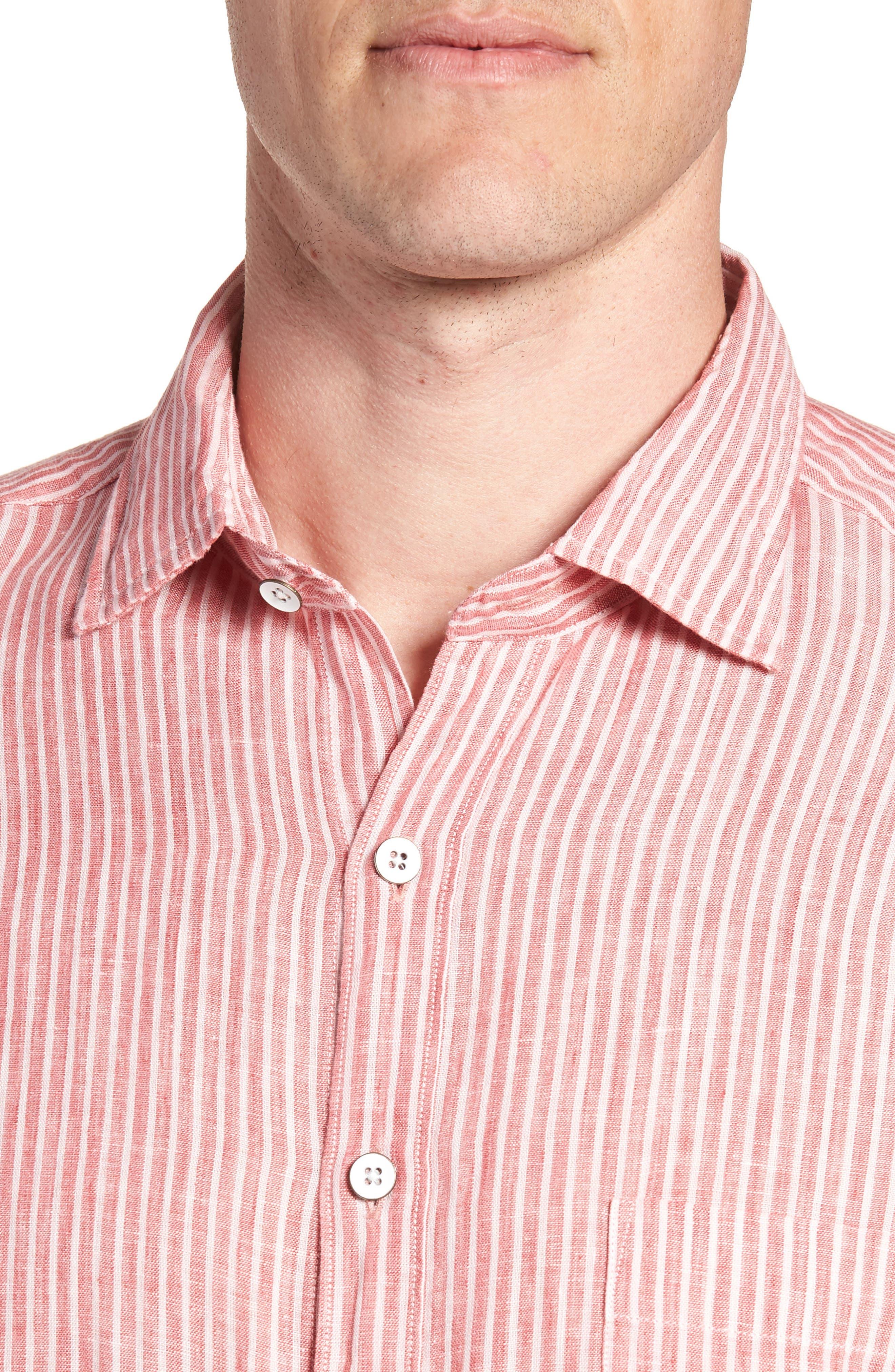 Warwick Junction Stripe Linen Sport Shirt,                             Alternate thumbnail 2, color,                             Coral