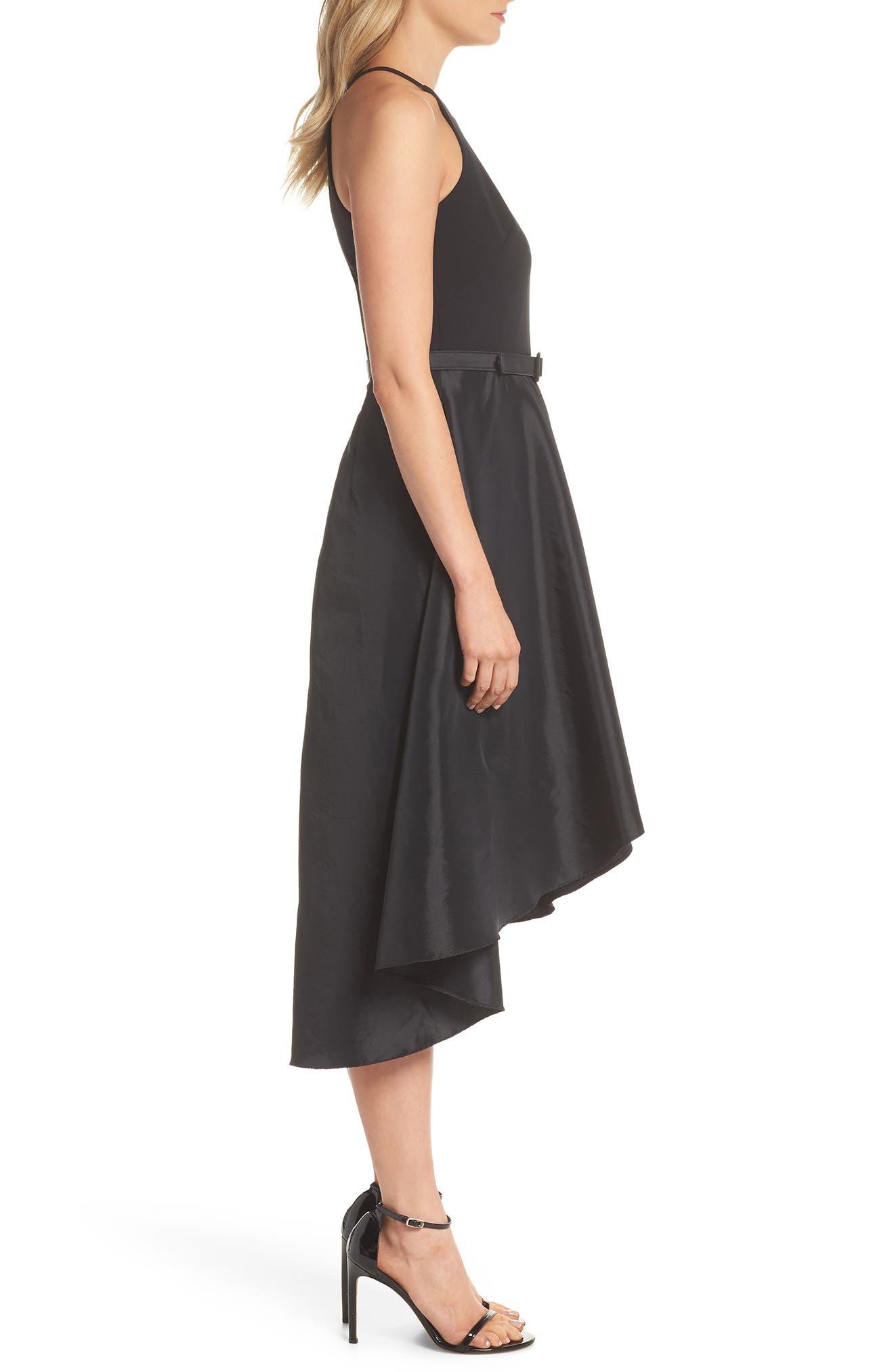 Asymmetrical Tea Length Dress,                             Alternate thumbnail 3, color,                             Black