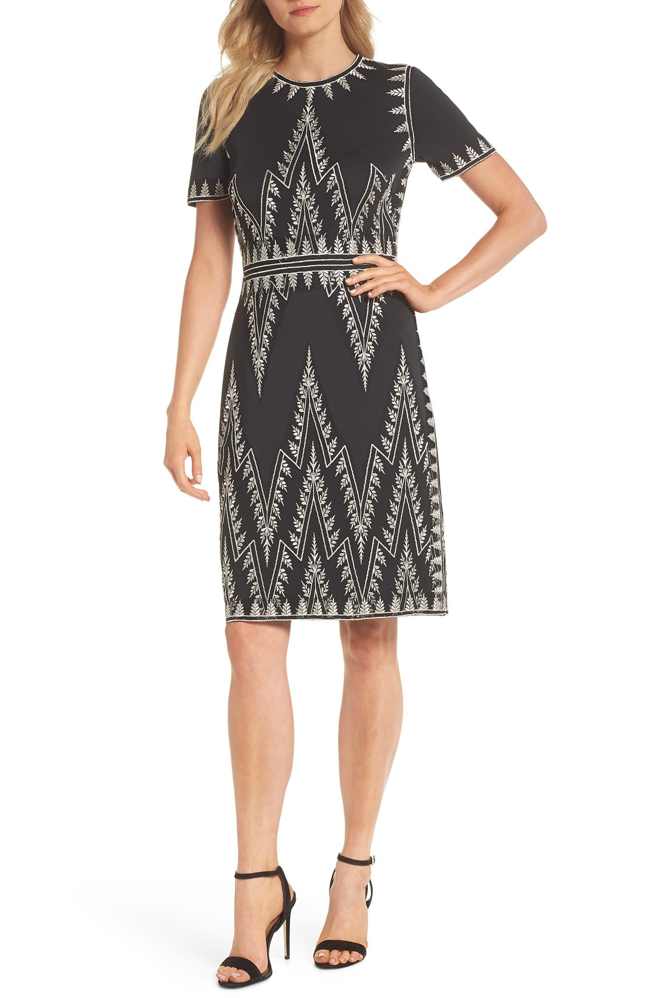 Embroidered Chevron Dress,                             Main thumbnail 1, color,                             Black/ Silver