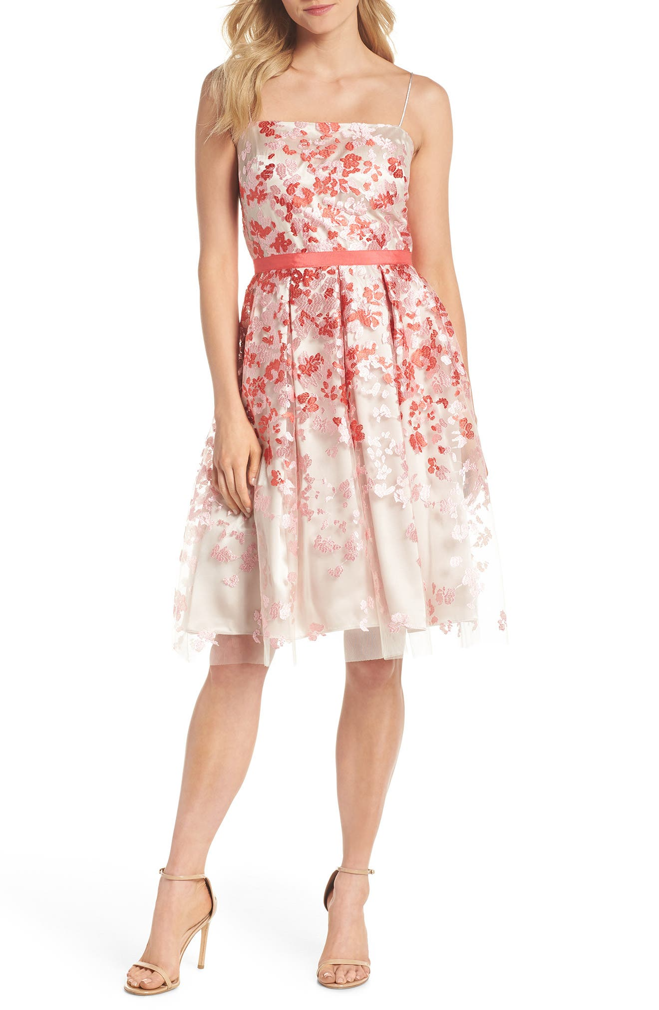 Embroidered Fit & Flare Cocktail Dress,                             Main thumbnail 1, color,                             Pink Multi