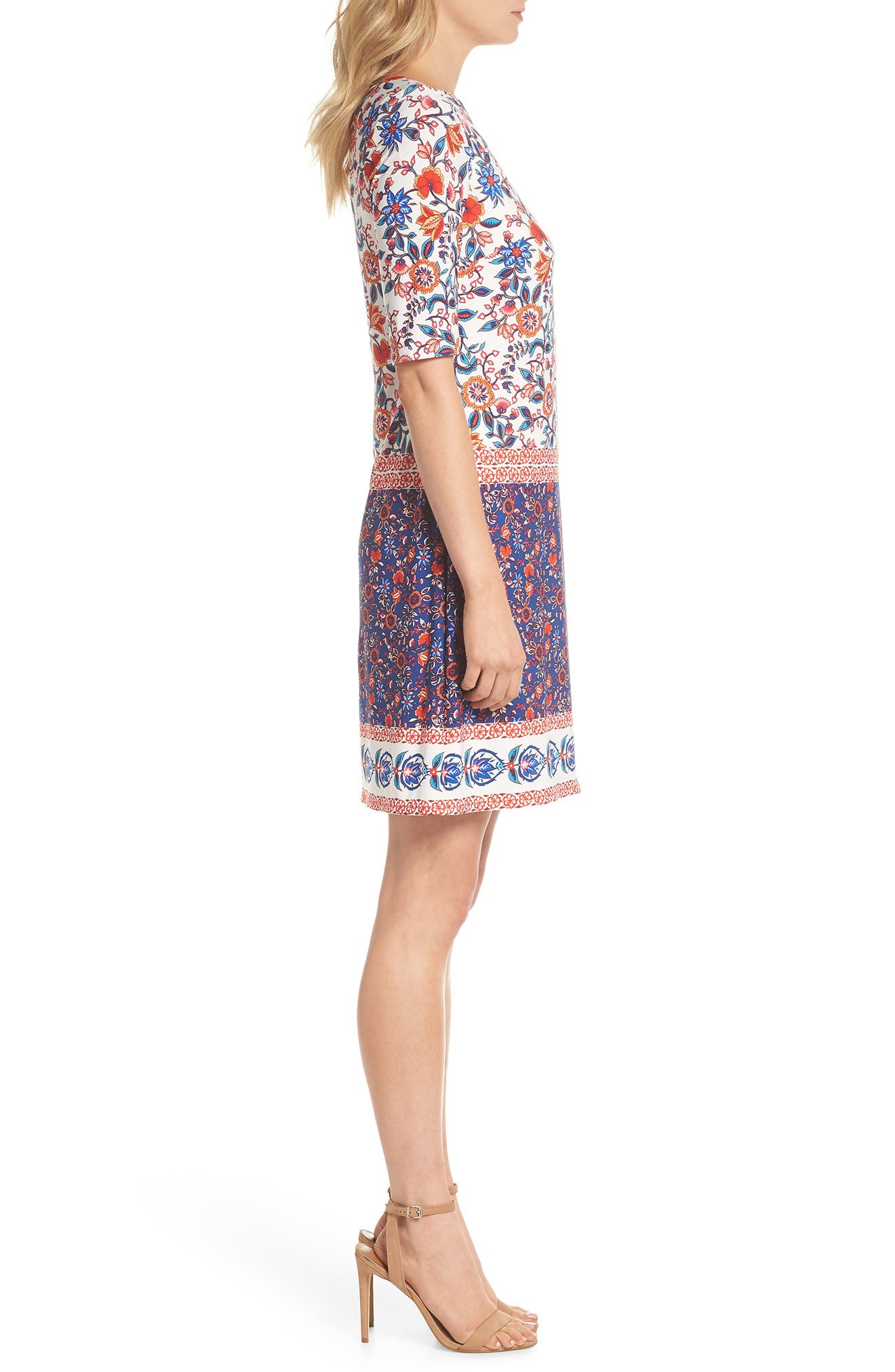 Printed Elbow Sleeve Shirt Dress,                             Alternate thumbnail 3, color,                             Navy/ Poppy