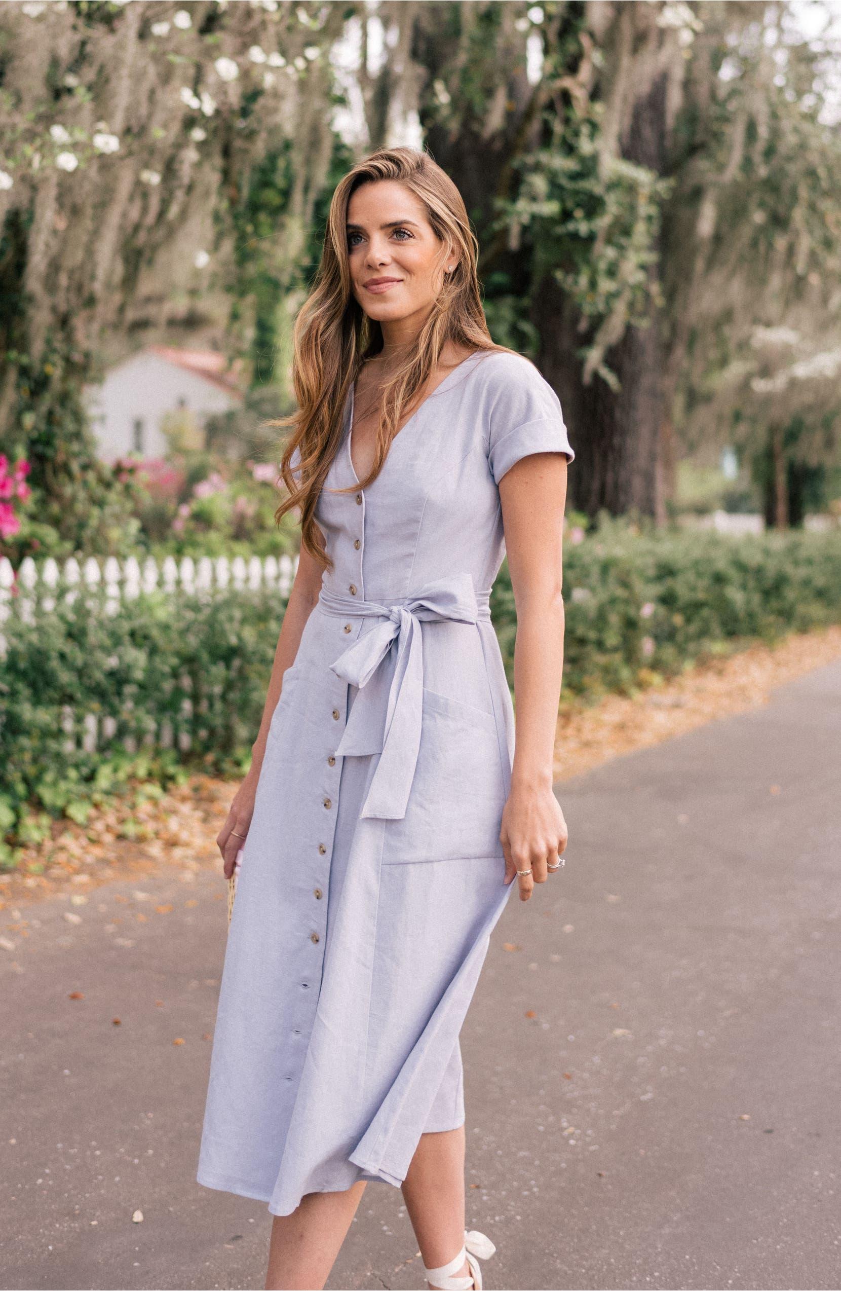 Vanessa Button Front Linen Blend Dress,                         Alternate,                         color, Lavender